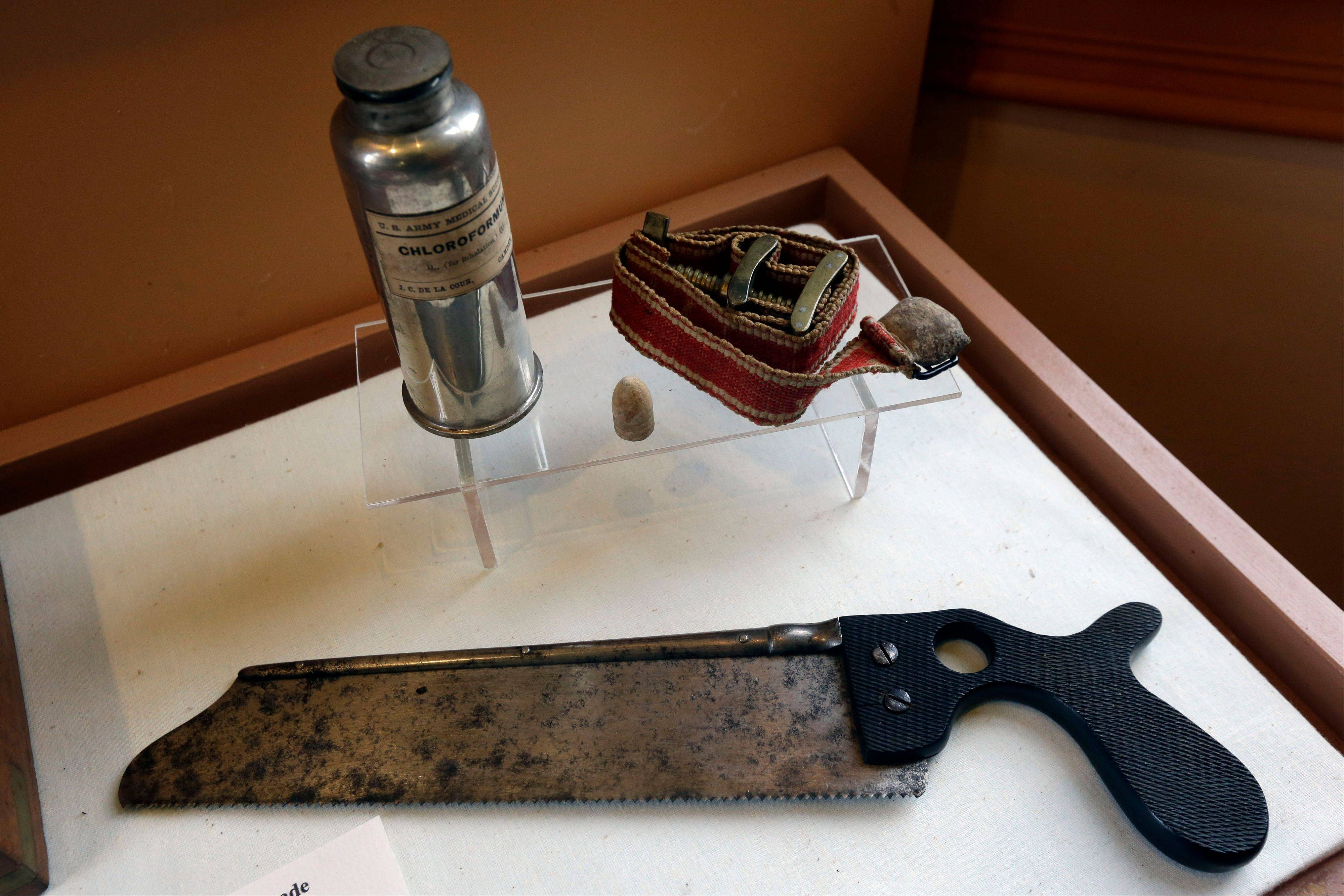 "Civil War era ""Chloroformum,"" tourniquet and saw, at the Pry House Field Hospital Museum."