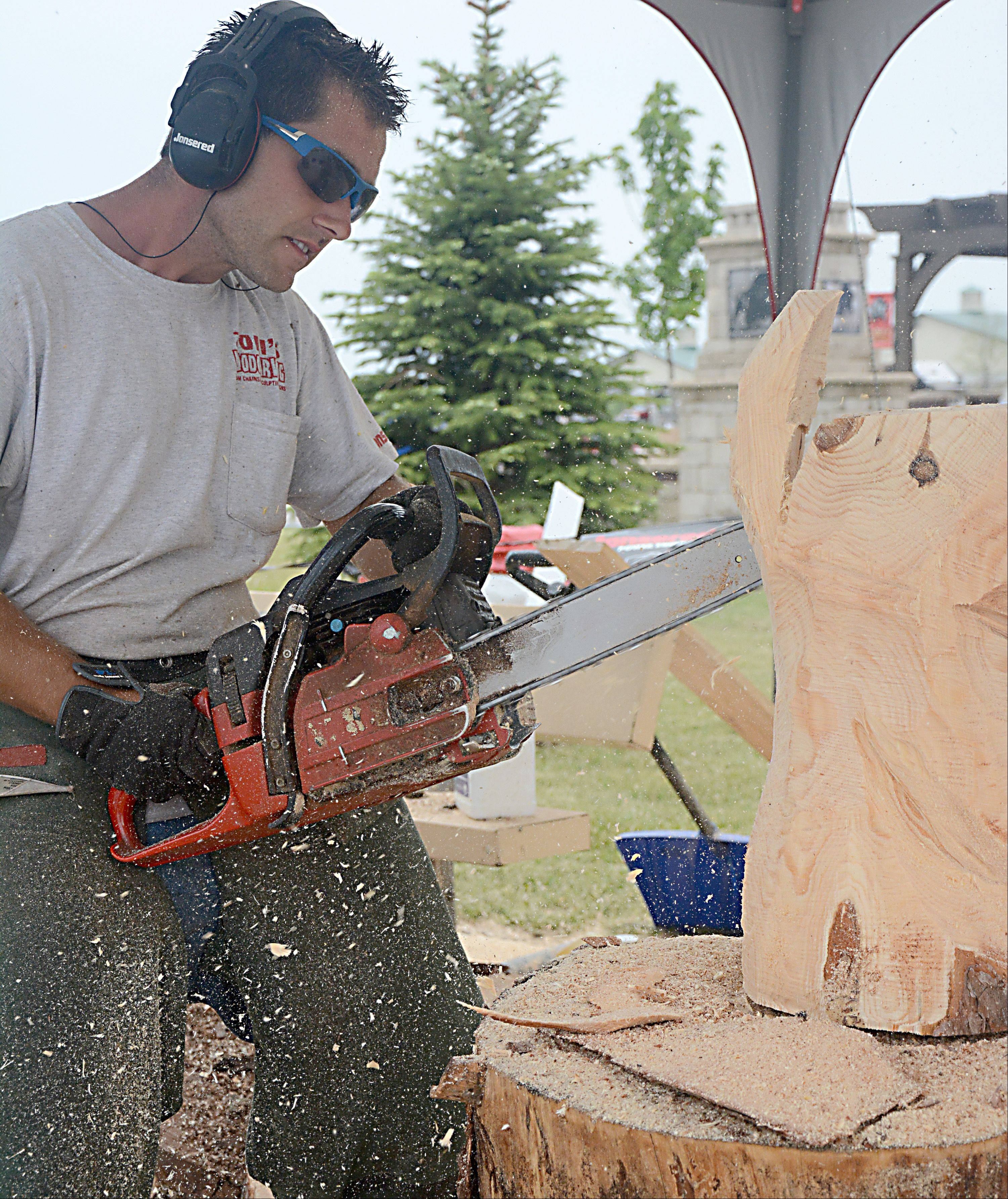 Zoli Akacsos of Monroe, Wis., carves a bear into wood using a chain saw.