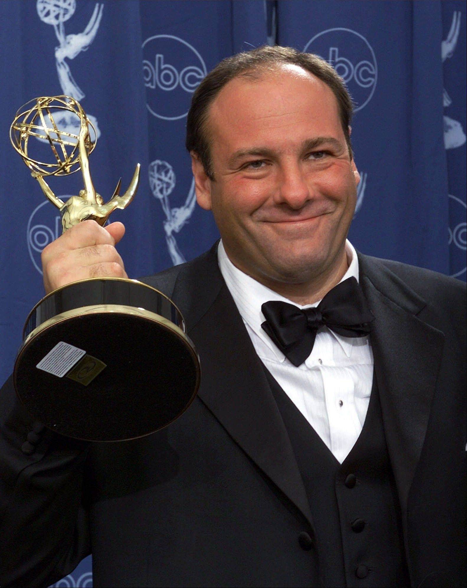 "Actor James Gandolfini with his award for outstanding lead in a drama series for his work in ""The Sopranos"" at the 52nd Annual Primetime Emmy Awards in Los Angeles."