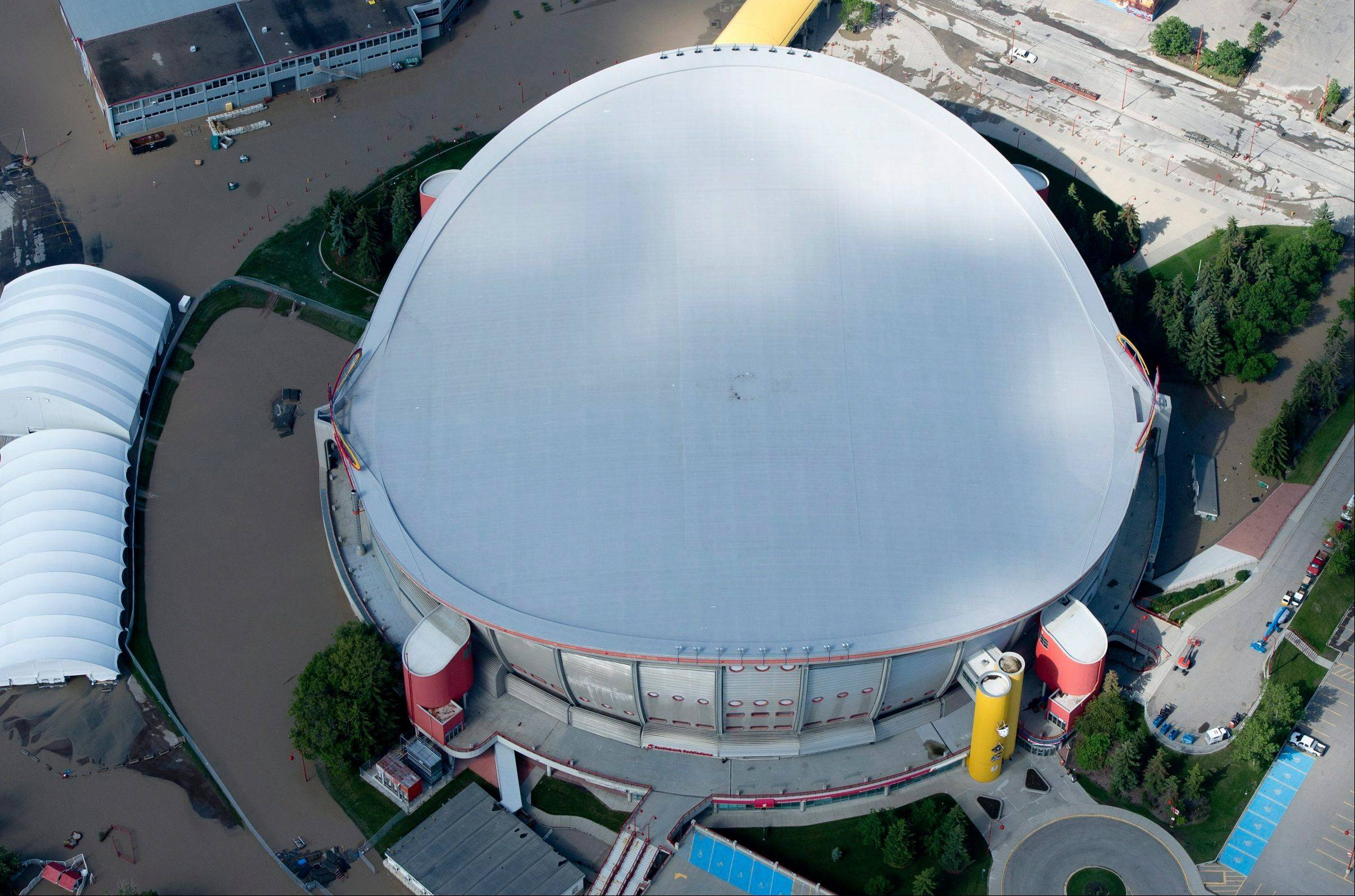 This aerial photo shows a flooded Calgary Saddledome in Calgary, Alberta, Canada on Saturday.