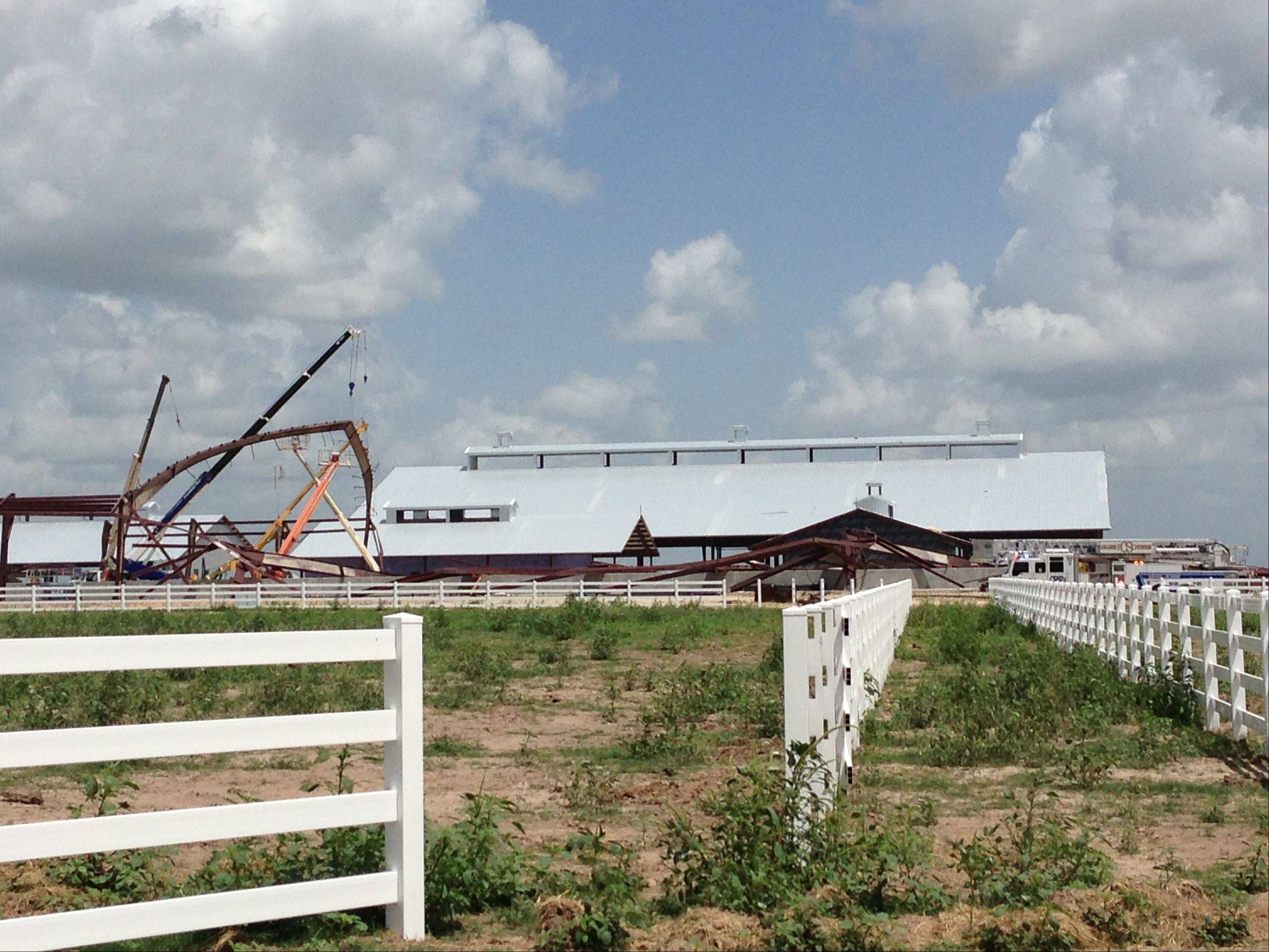 The Texas A&M University equestrian center near College Station, Texas, collapsed during construction Saturday.