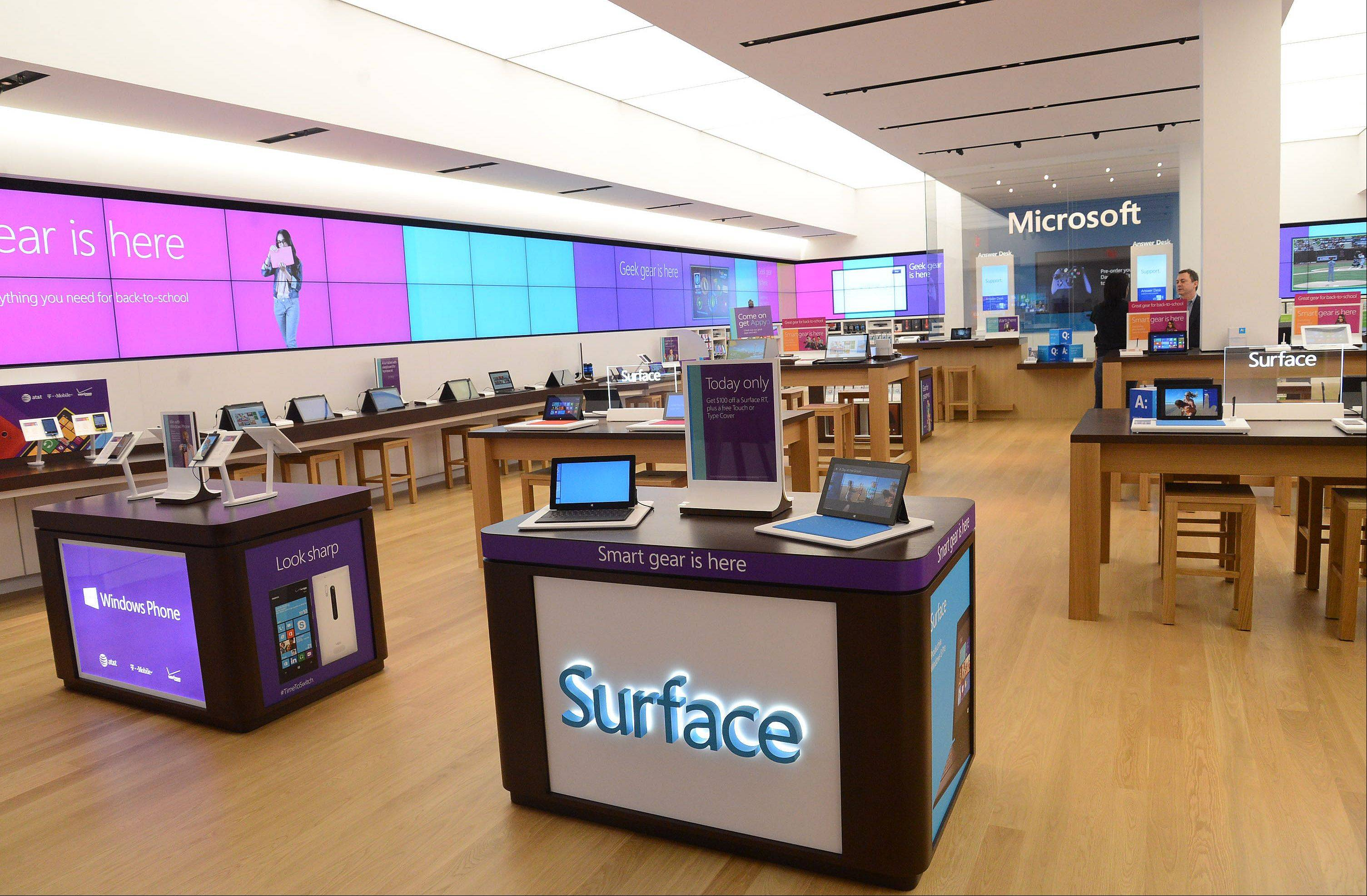 The Microsoft store, wrapped inside with an LED screen ribbon, will open today at 10:30 a.m.