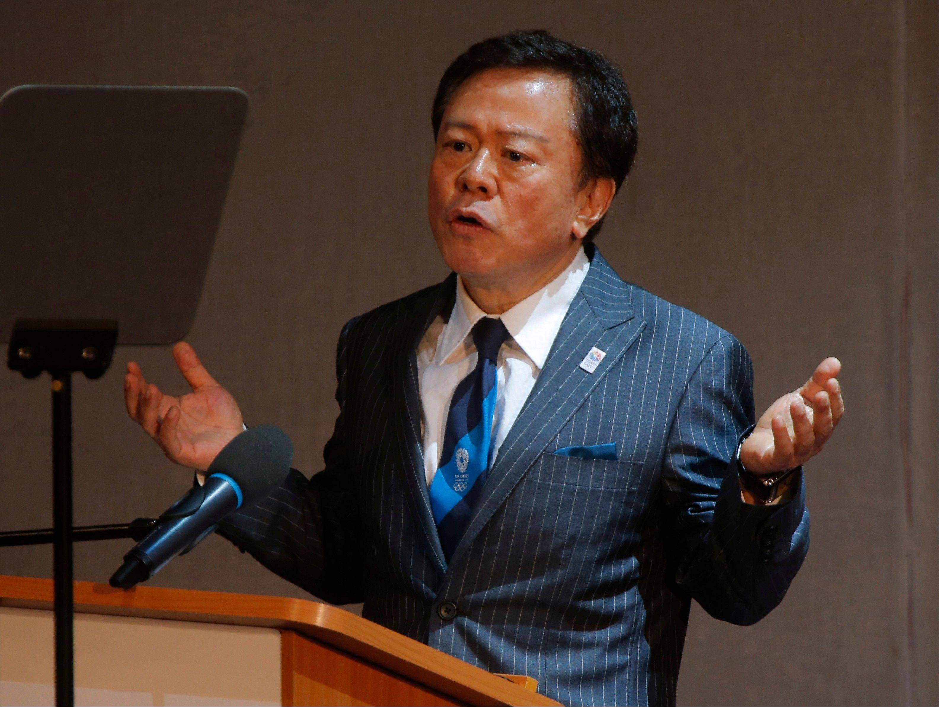 Tokyo Gov. Naoki Inose speaks during the presentation of Tokyo as a candidate city for the 2020 Olympics at the SportAccord International Convention in St. Petersburg, Russia. Inose rushed to 'clarify' uncomplimentary comments about the rival bid by the Turkish capital, Istanbul, to host the 2020 Olympic Summer Games.
