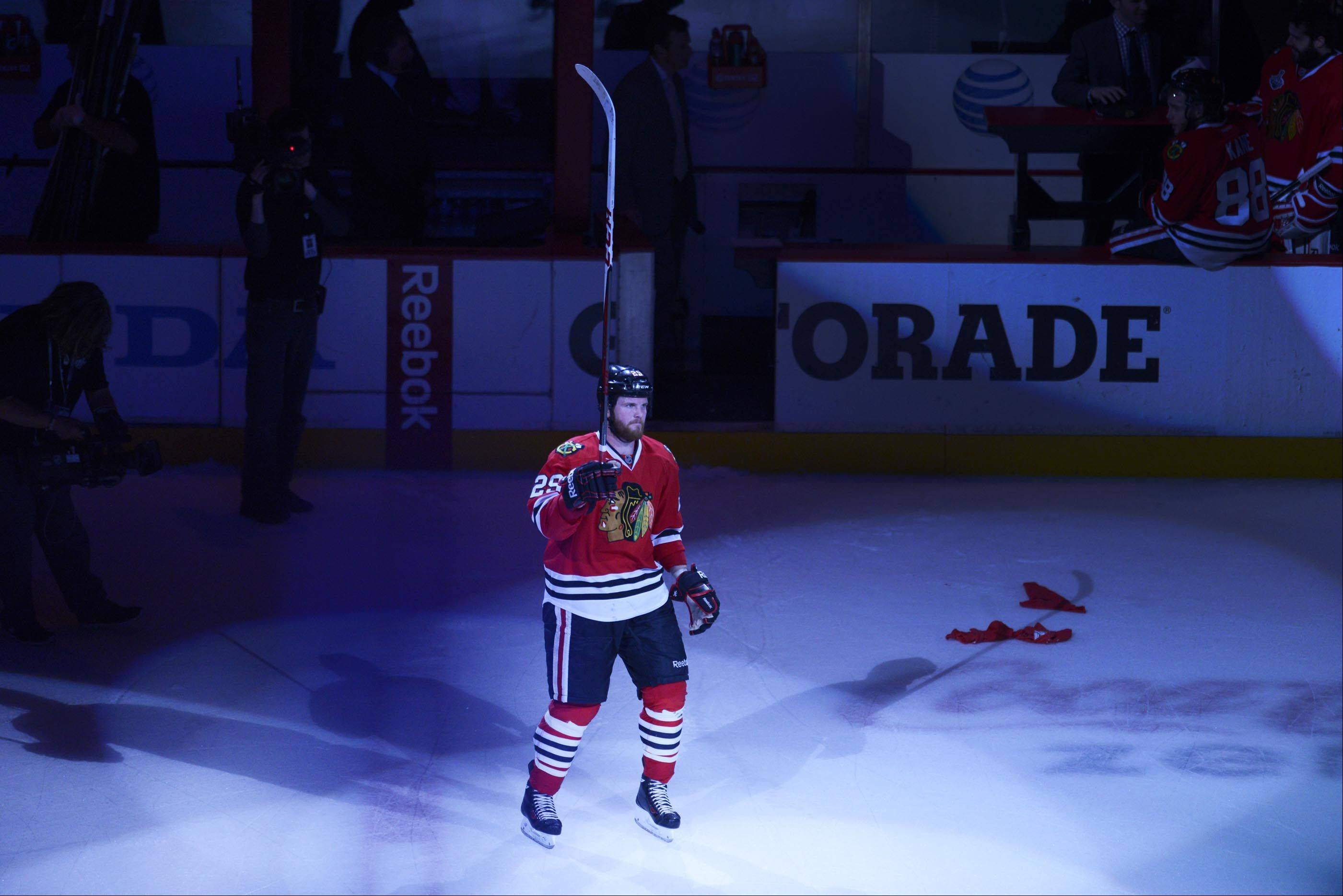 Chicago Blackhawks left wing Bryan Bickell was one of the stars of the game Saturday in Game 5 of the Stanley Cup Finals at the United Center in Chicago.