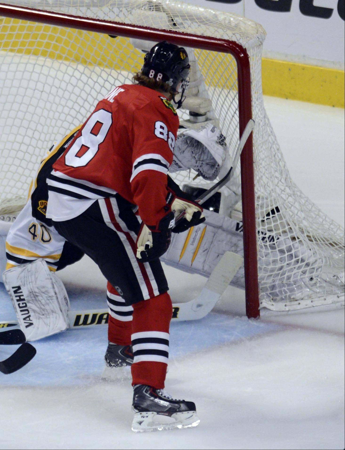 Chicago Blackhawks right wing Patrick Kane sees his second goal in the back of the net Saturday in Game 5 of the Stanley Cup Finals at the United Center in Chicago.