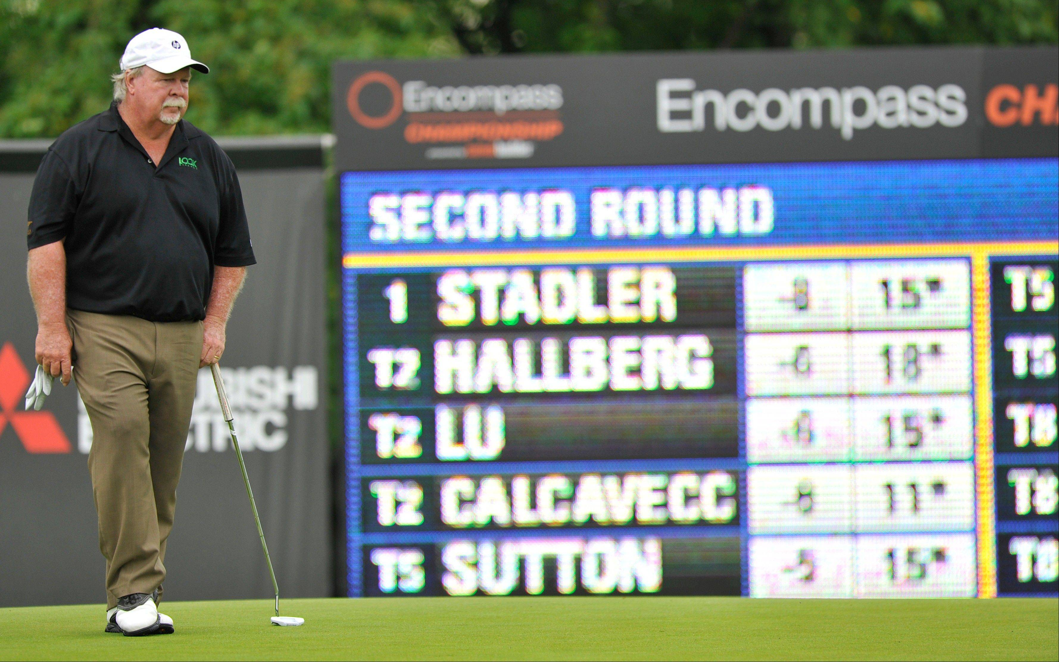 Craig Stadler lines up his putt on the 16th hole during the second round of the Encompass Championship at North Shore County Club in Glenview on Saturday.