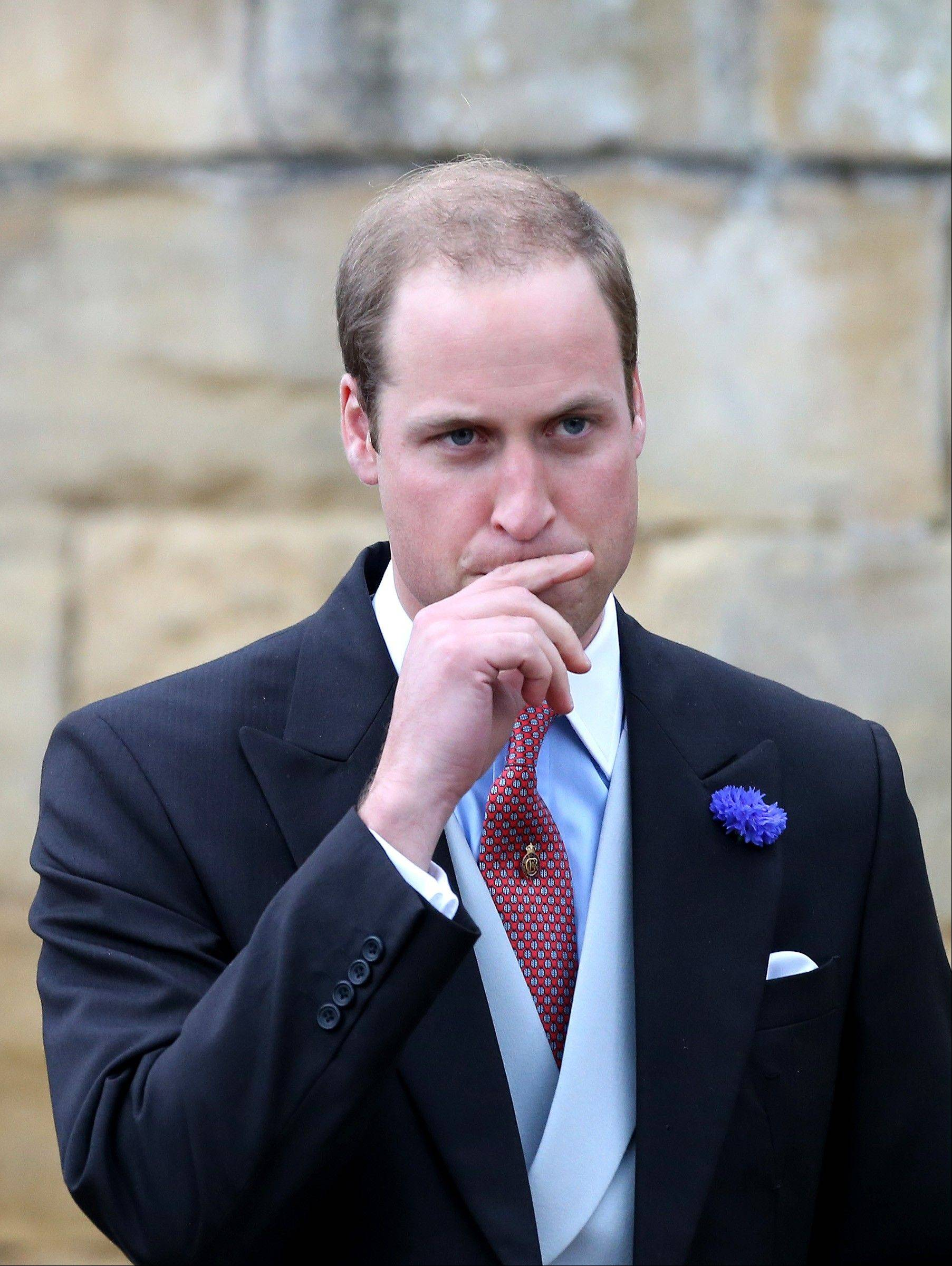 Britain�s Prince William leaves after attending the wedding of the Duke and Duchess of Northumberland�s daughter Lady Melissa Percy to chartered surveyor Thomas van Straubenzee at St Michael�s Church in Alnwick, England, Saturday, June 22, 2013.