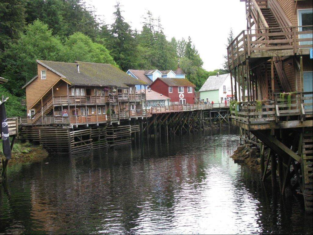 A glimpse of Creek Street, a destination dotted with shops, galleries and restaurants, in Ketchikan, Alaska, is now known more for tourism than its once-thriving timber industry.