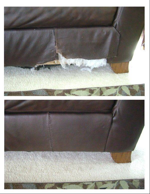 Before and after photos show how a rip on the corner of a couch can be restitched.