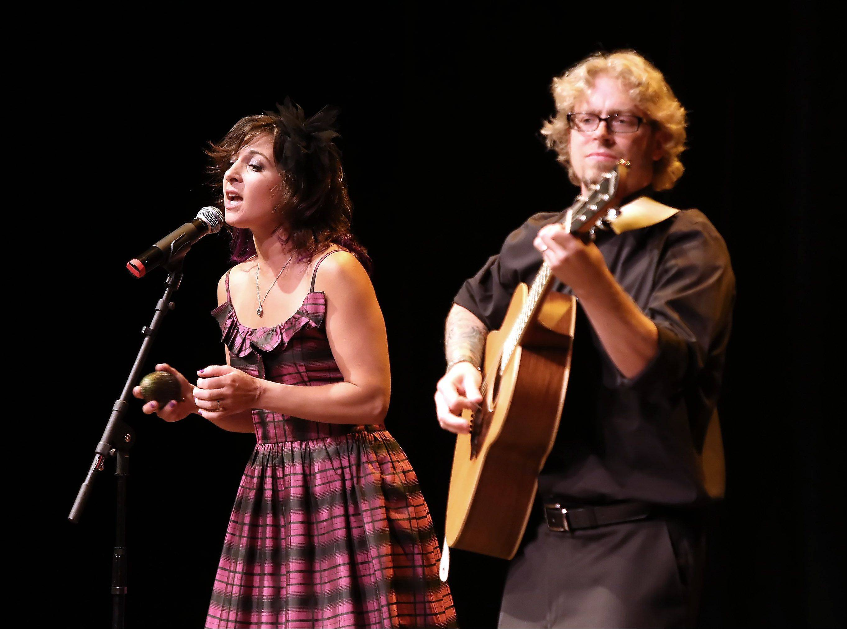 Karen and Sean Slavin of Woodstock perform during the first round of finalists for the Suburban Chicago's Got Talent competition Sunday night at the Metropolis Performing Arts Centre in Arlington Heights. The summer-long talent contest is presented by the Daily Herald and sponsored by the Arlington Heights Chamber of Commerce.