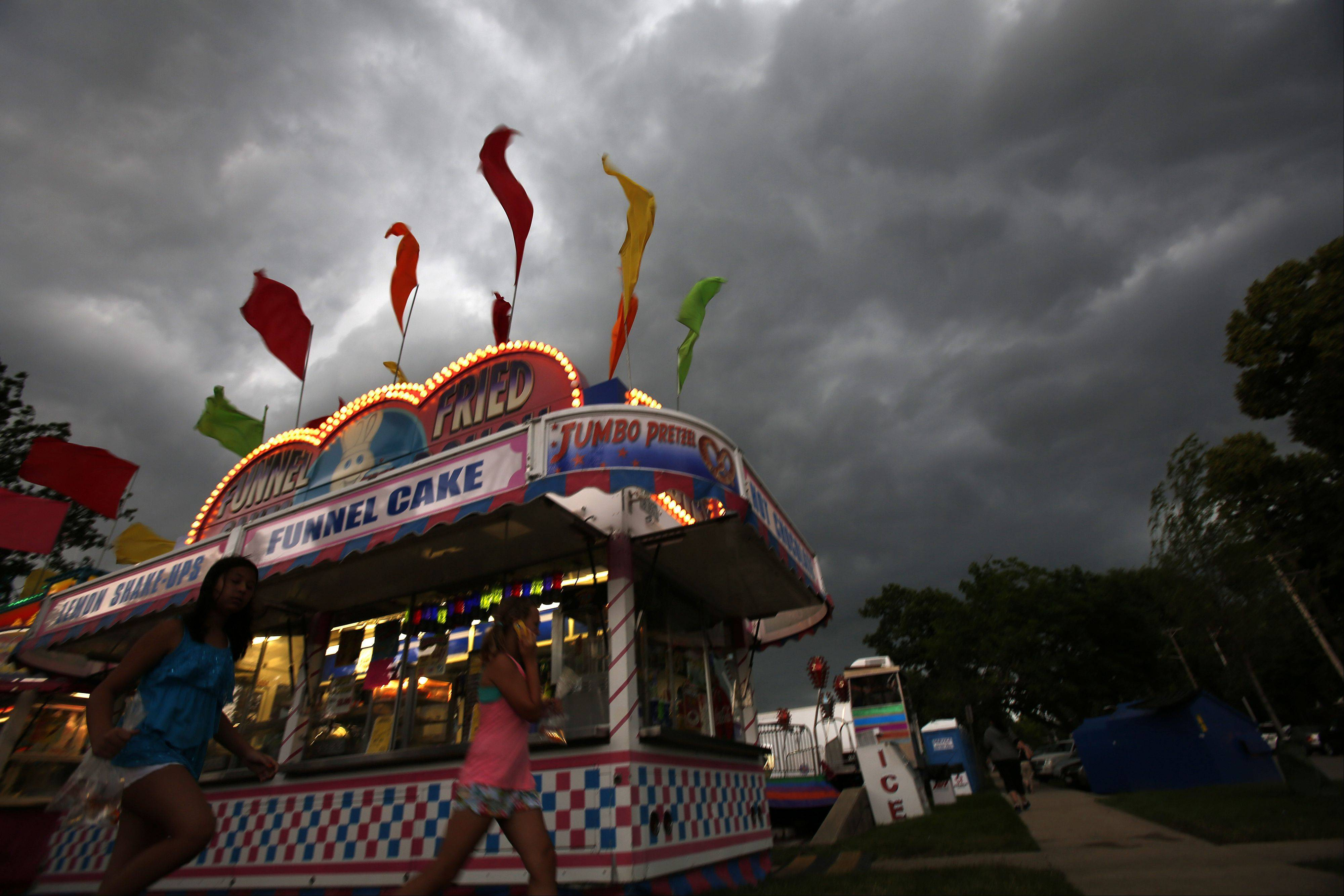 Storms roll in as Swedish Days was shut down temporarily in Geneva Friday.