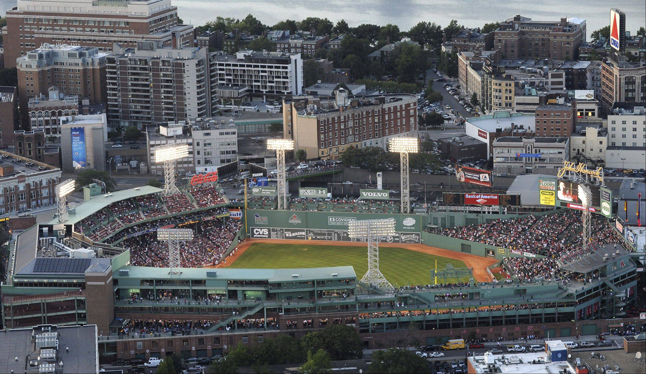 An aerial view of Fenway Park in Boston.