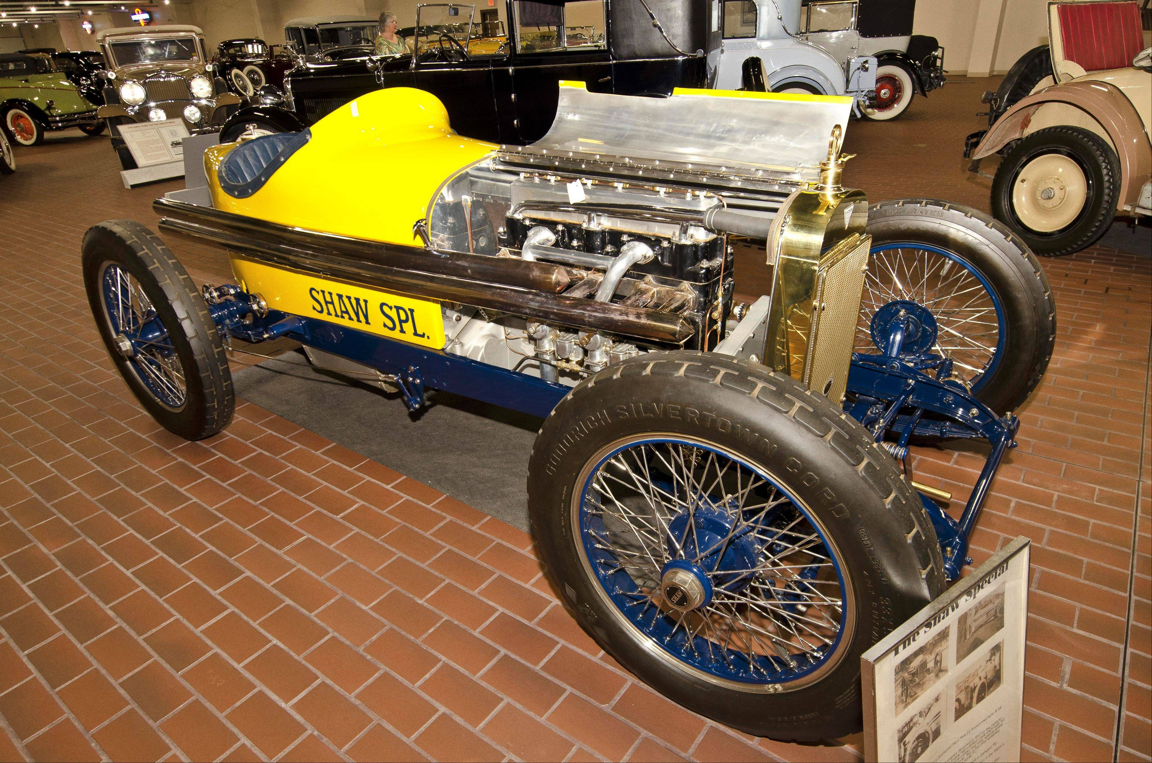 The collection includes this Shaw race car.