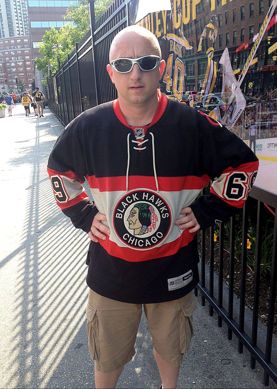Shawn Vercillo of Elmhurst made the trip to Boston to take in Game 6 of the Stanley Cup Final at TD Garden. The Hawks season-ticket holder said he regretted not going to Philadelphia in 2010 when the Blackhawks won the Cup.