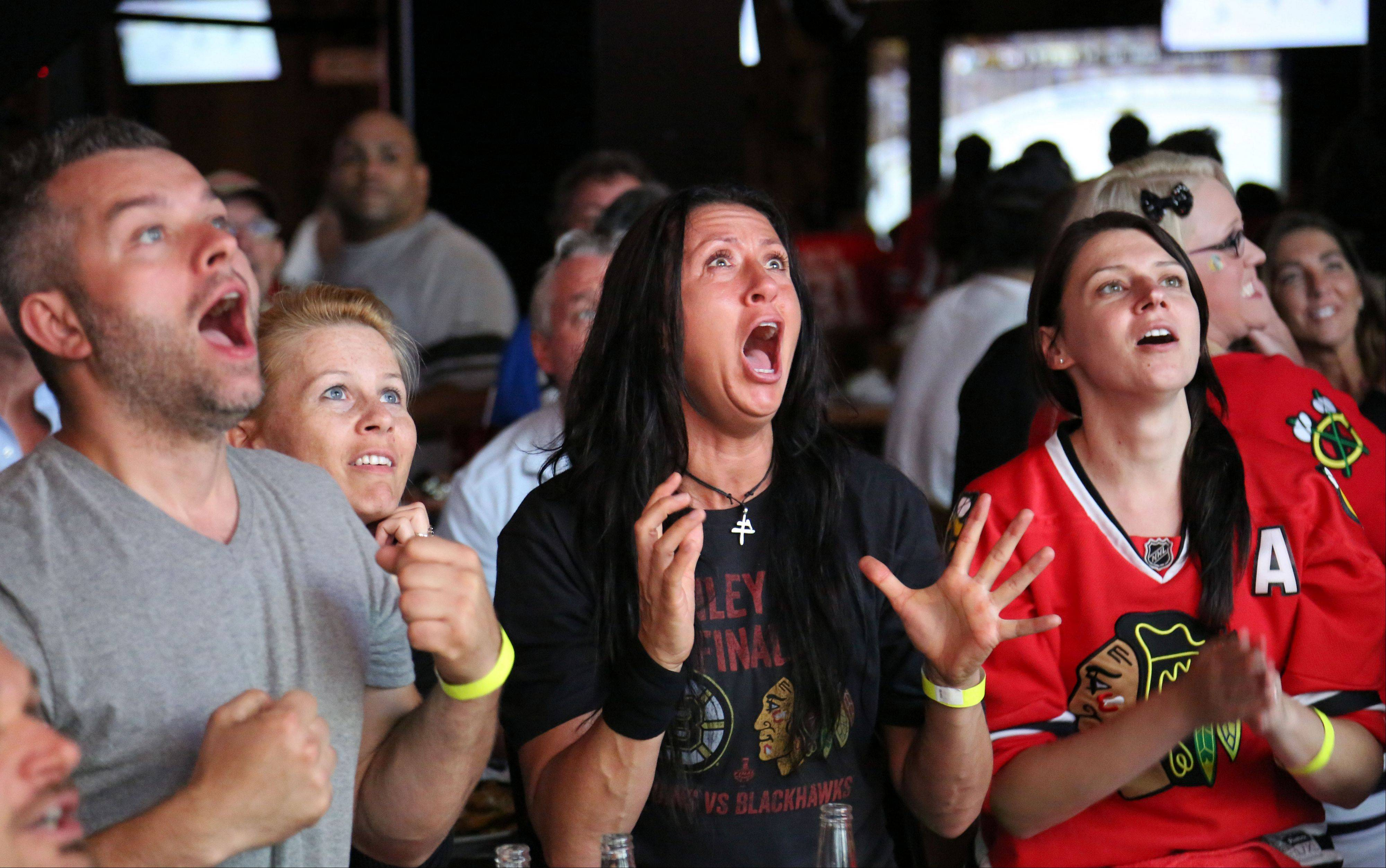 Hawks fans cheer after Jonathan Toews' goal in the second period as they watch game six of the Stanley Cup Finals at Toby Keith's I Love This Bar in Rosemont Monday night.