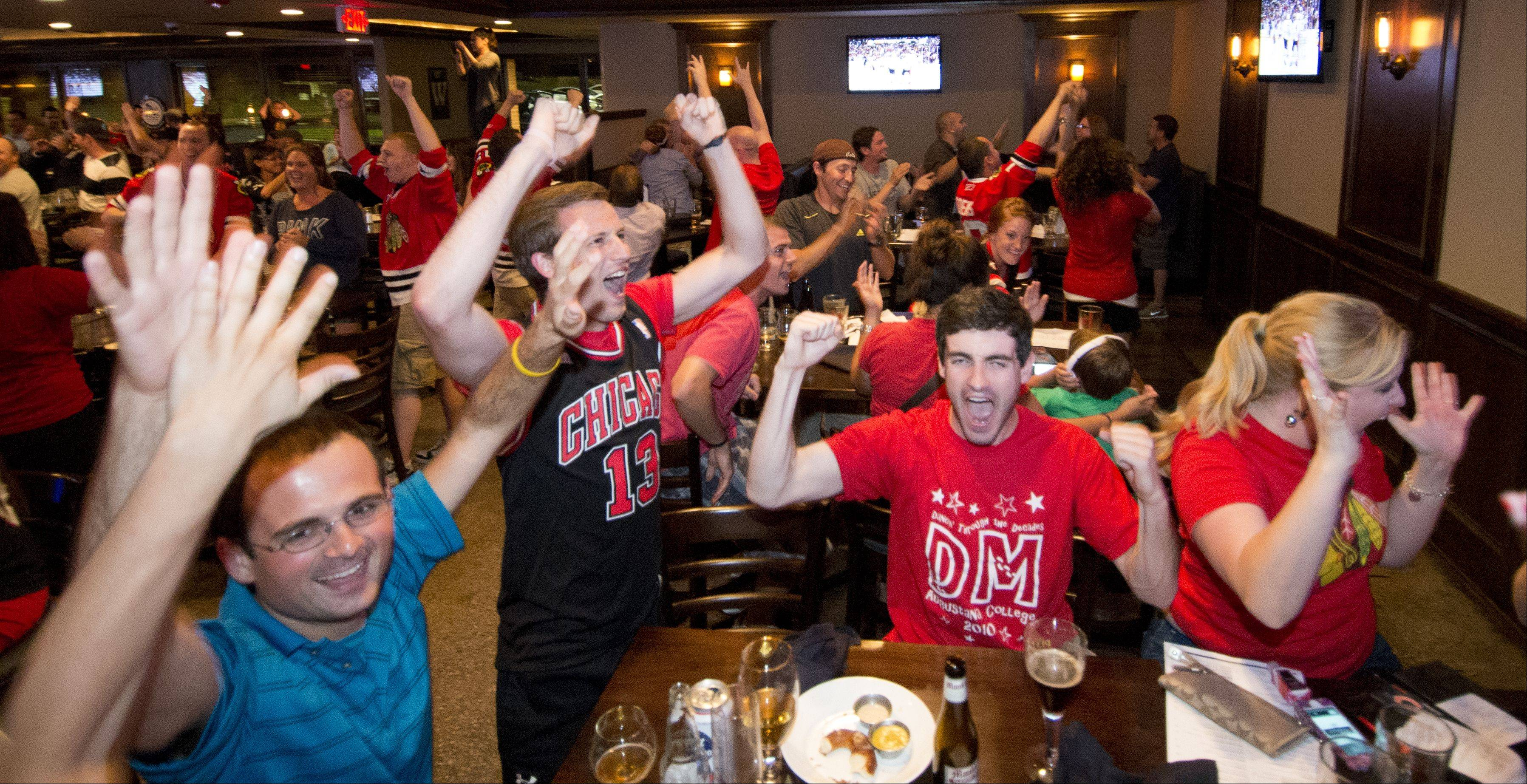 Fans cheer Monday at Warren's Ale House in Wheaton as the Blackhawks win the Stanley Cup.