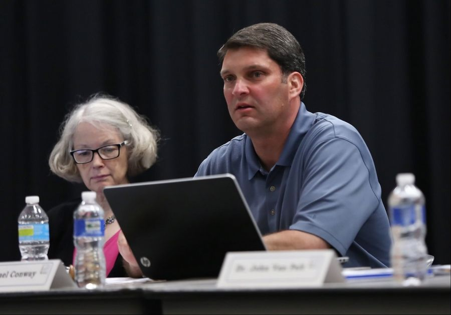 School board President Michael Conway talks to the audience Monday during a meeting at Palombi Middle School. The the Lake Villa Elementary District 41 school board voted to close Pleviak Elementary School.