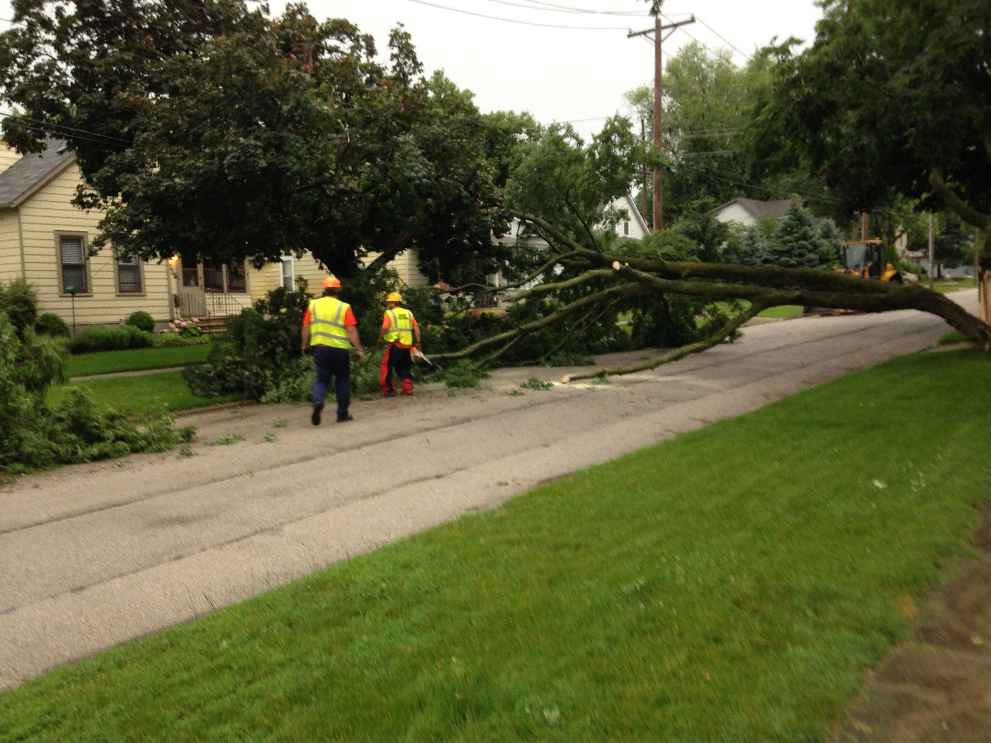 Workers deal with a downed tree Monday night in Batavia.
