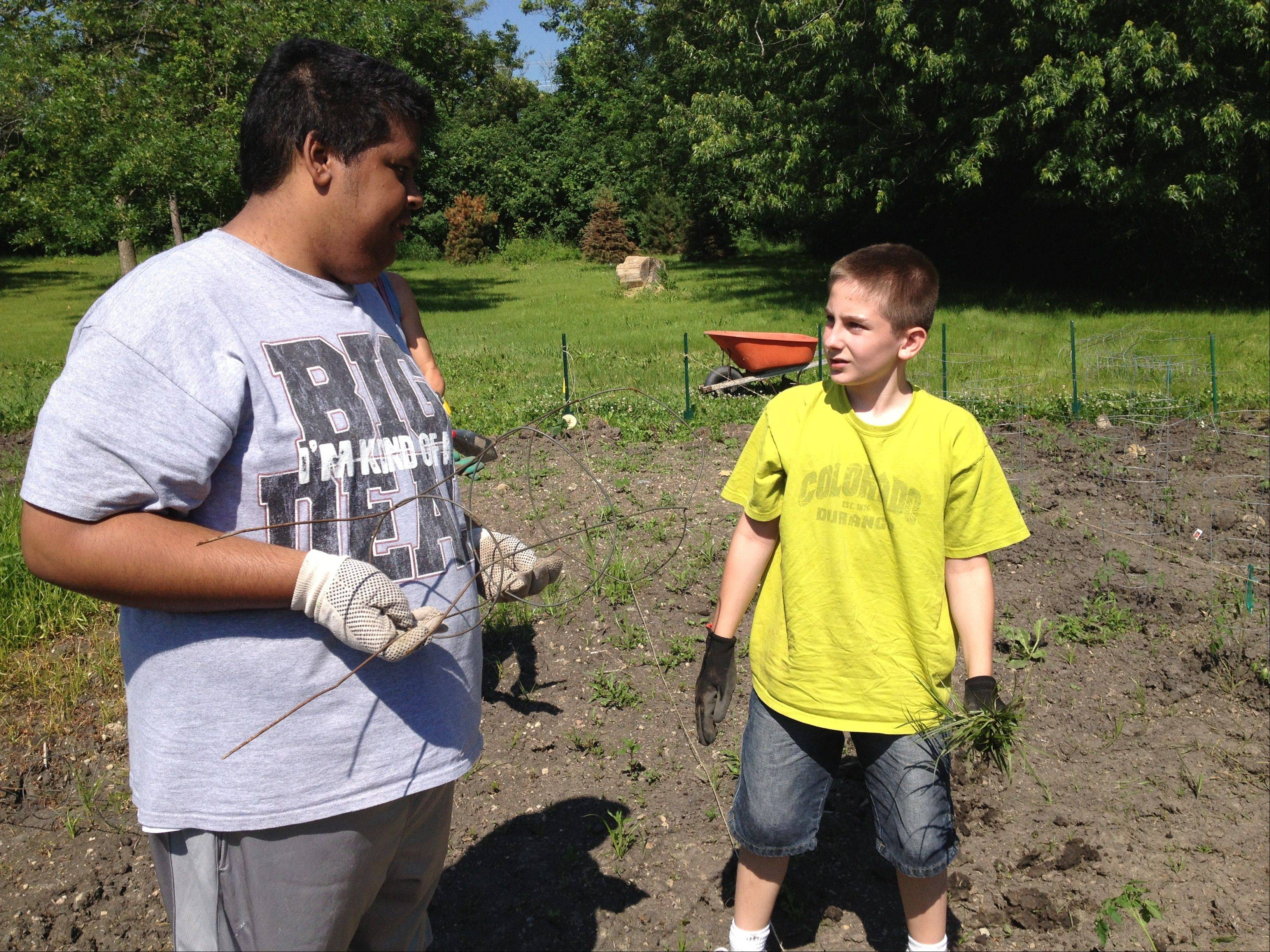 Alonzo Dassinger and Andrew Pierce help out in the Willow Creek garden.