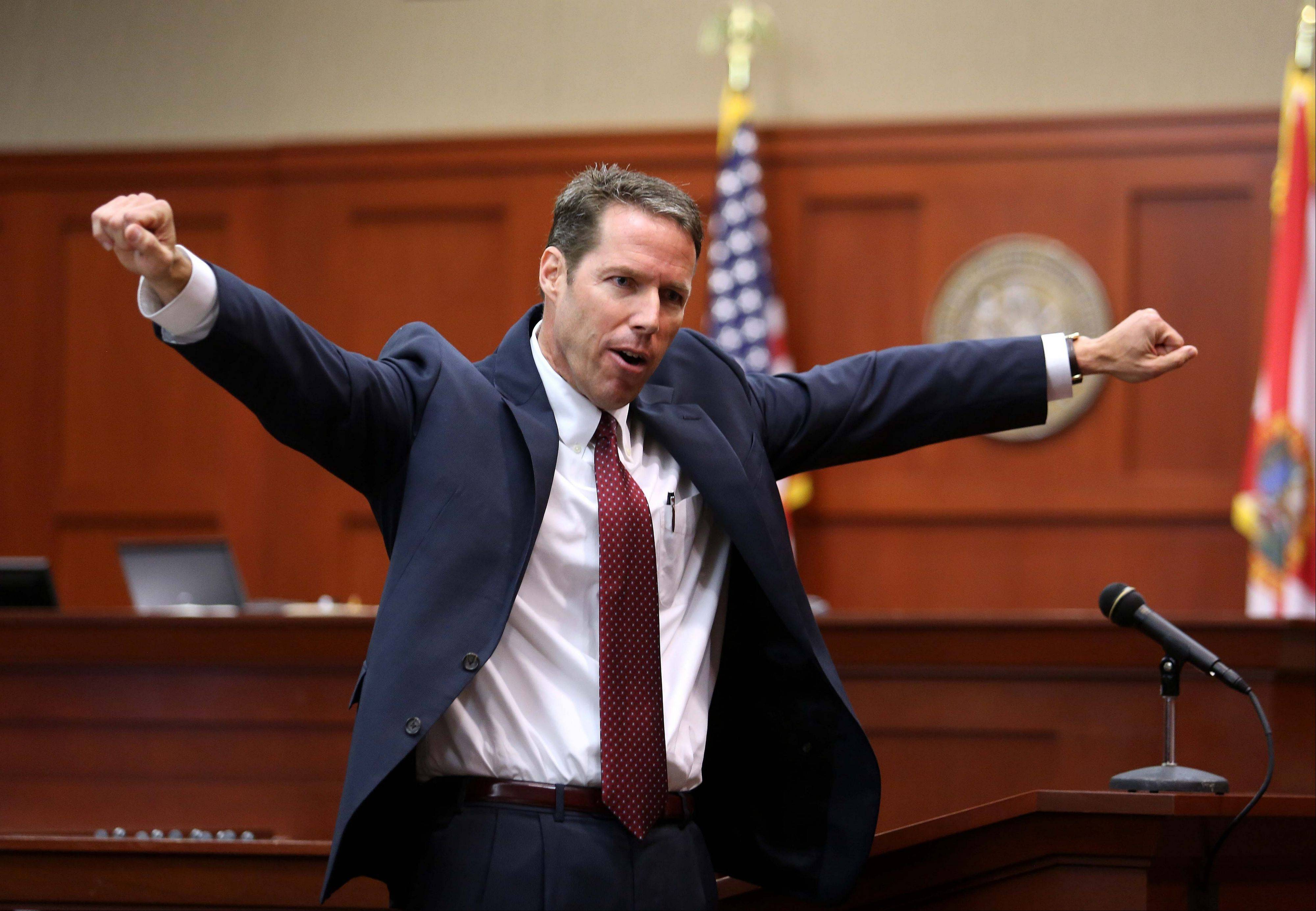 Assistant State Attorney John Guy gestures during his opening statement in George Zimmerman's trial