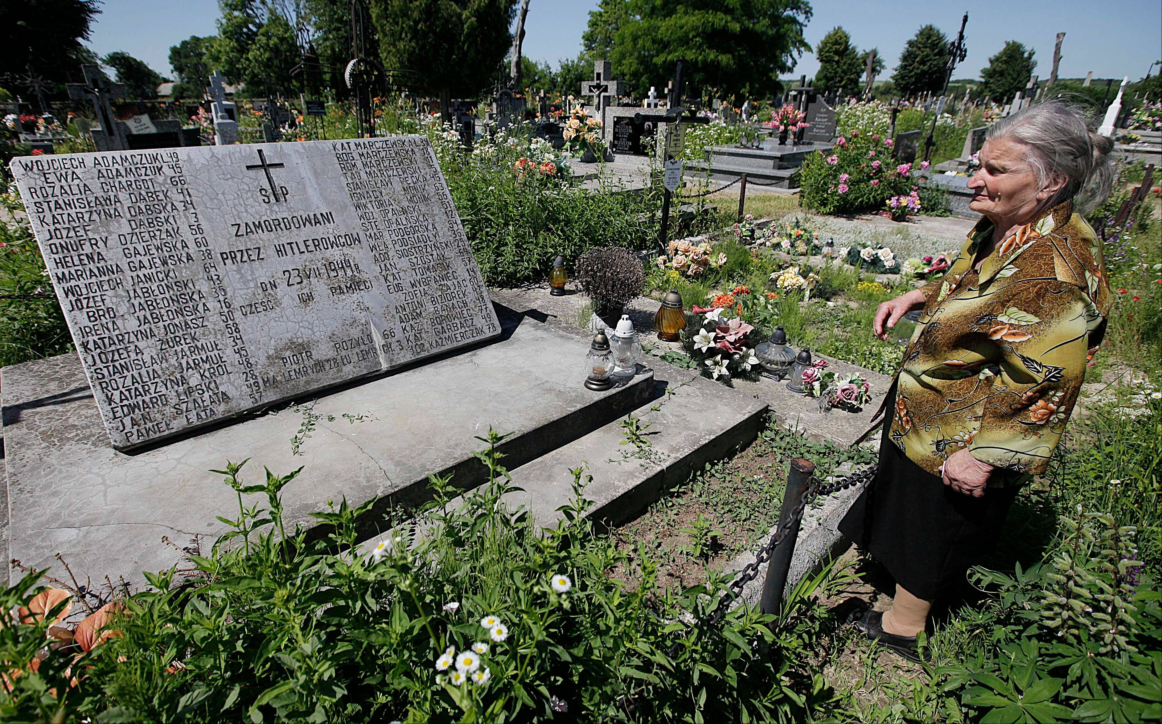 A mass grave and a monument in the village of Chlaniow, Polandand holding the bodies of Poles killed in an attack on the village by the Nazi SS-led Ukrainian Self Defense Legion in 1944. Forty four villagers and one visitor were killed. An investigation by the AP revealed that a commander in the legion, Michael Karkoc, 94, is living in the United States.