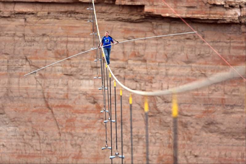Images: Tightrope walk across the Grand Canyon