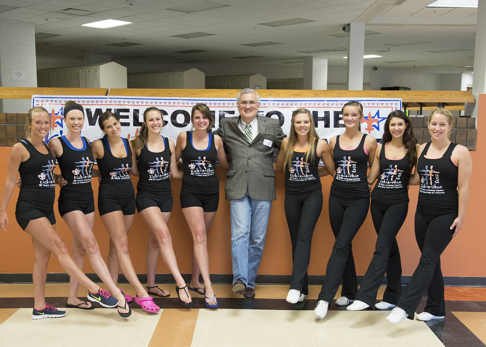 St. Charles North drill team seniors Alison Meisenheimer, Jamie Beaulieu, MaryKate Purcell, Kassidy Ams, Lexi Artman, St. Charles Mayor, Ray Rogina, St. Charles East drill team seniors Tara Willing, Rhyleigh Keef, Rachael Manley and Maddie Culbertson