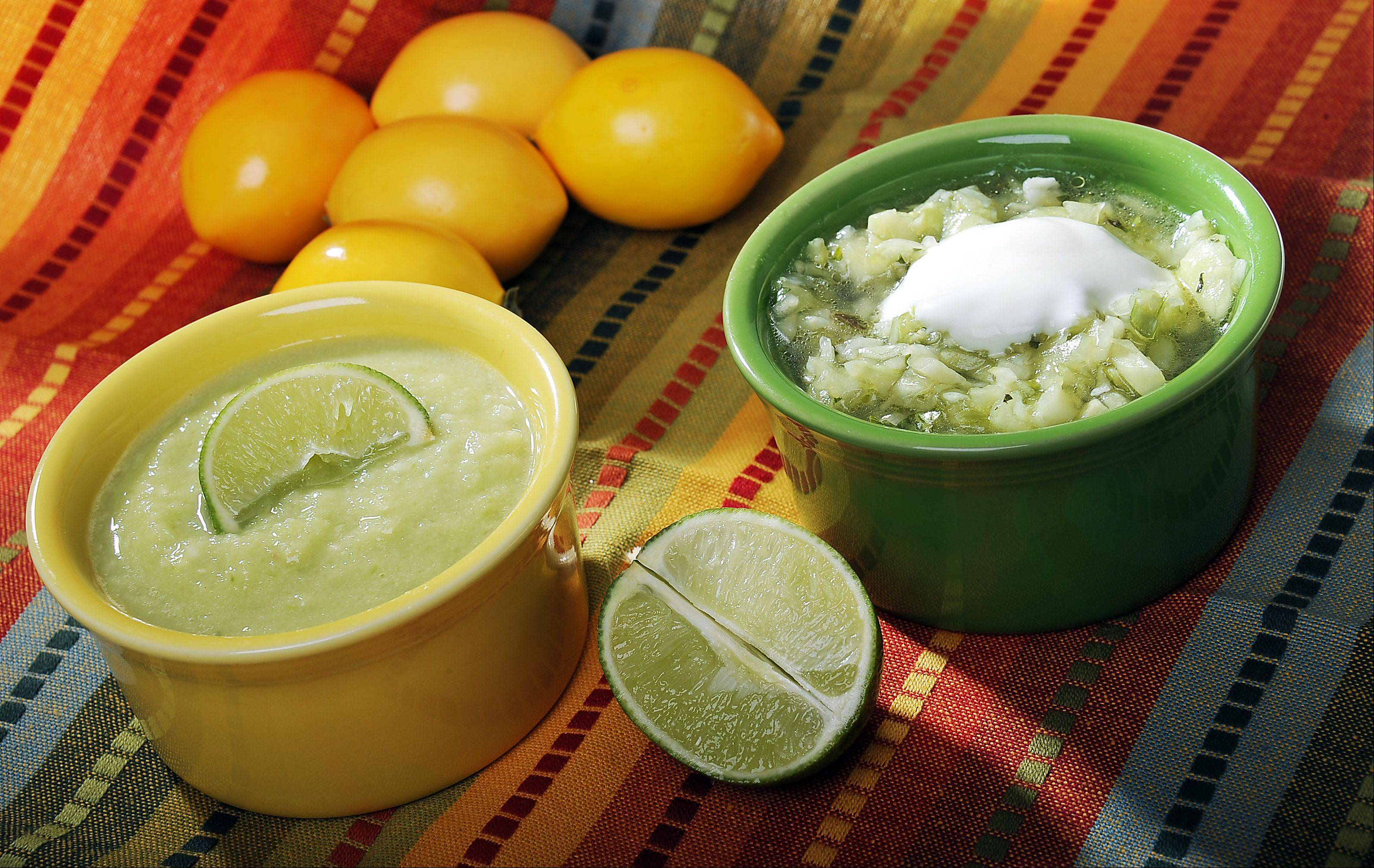 Cucumbers and honey dew melon mingle in a pair of similar chilled soups that are equally refreshing.