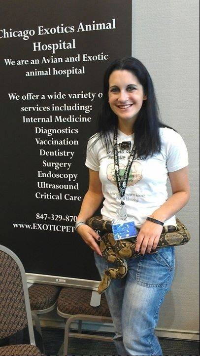 Erica Mede, shown here with Zombie from the Friends of Scales rescue, is a certified veterinary technician with Chicago Exotic Animals Hospital. Snakes will be among the animals presented and discussed by the hospital's veterinarians at this year's Chicagoland Repticon at the Kane County Fairgrounds Prairie Events Center.