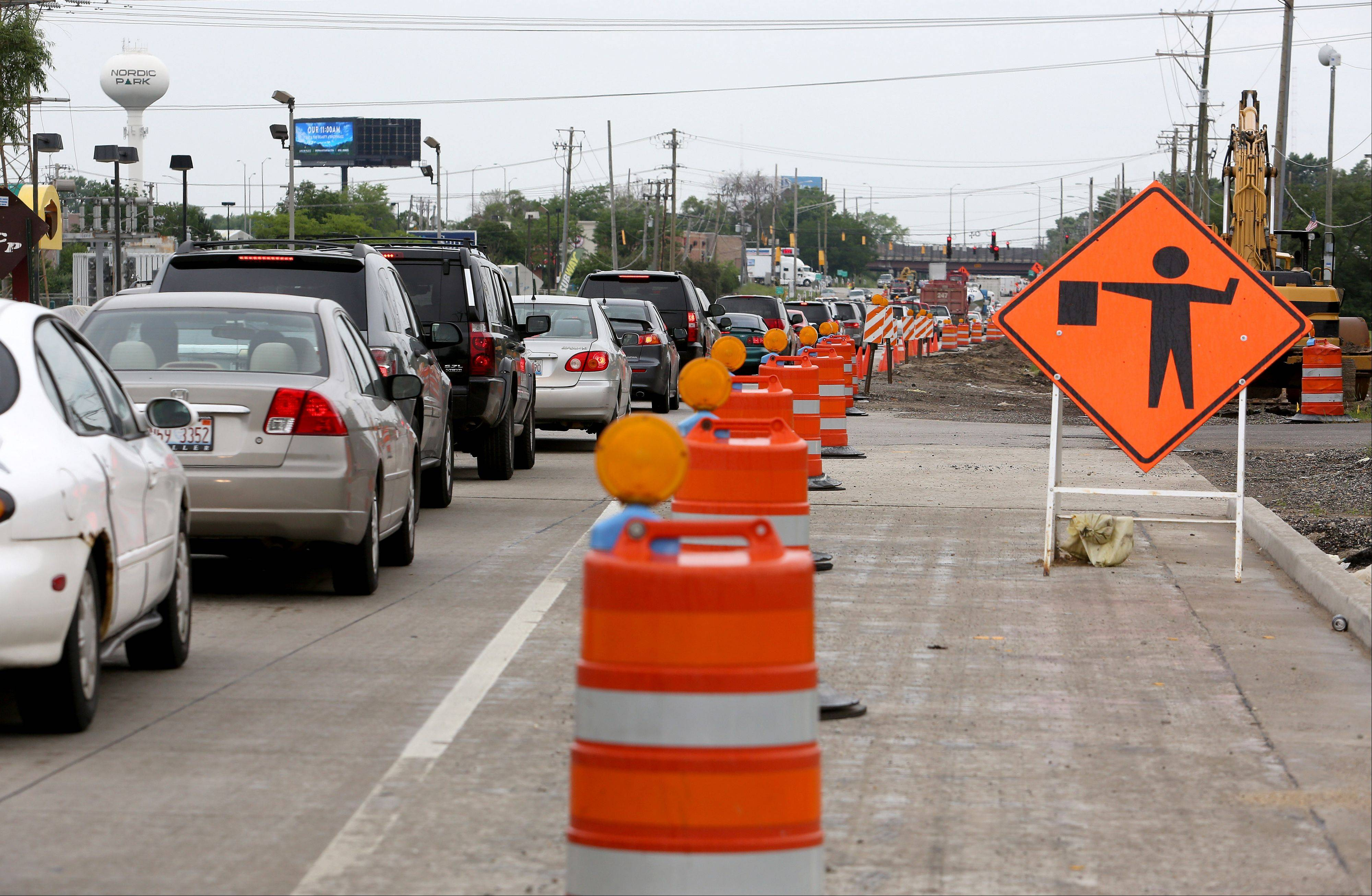 Delays are expected to continue on Rohlwing Road/Route 53 in Itasca and Addison through the summer as crews work on a $45.5 million road project that originally was scheduled to be completed next fall.