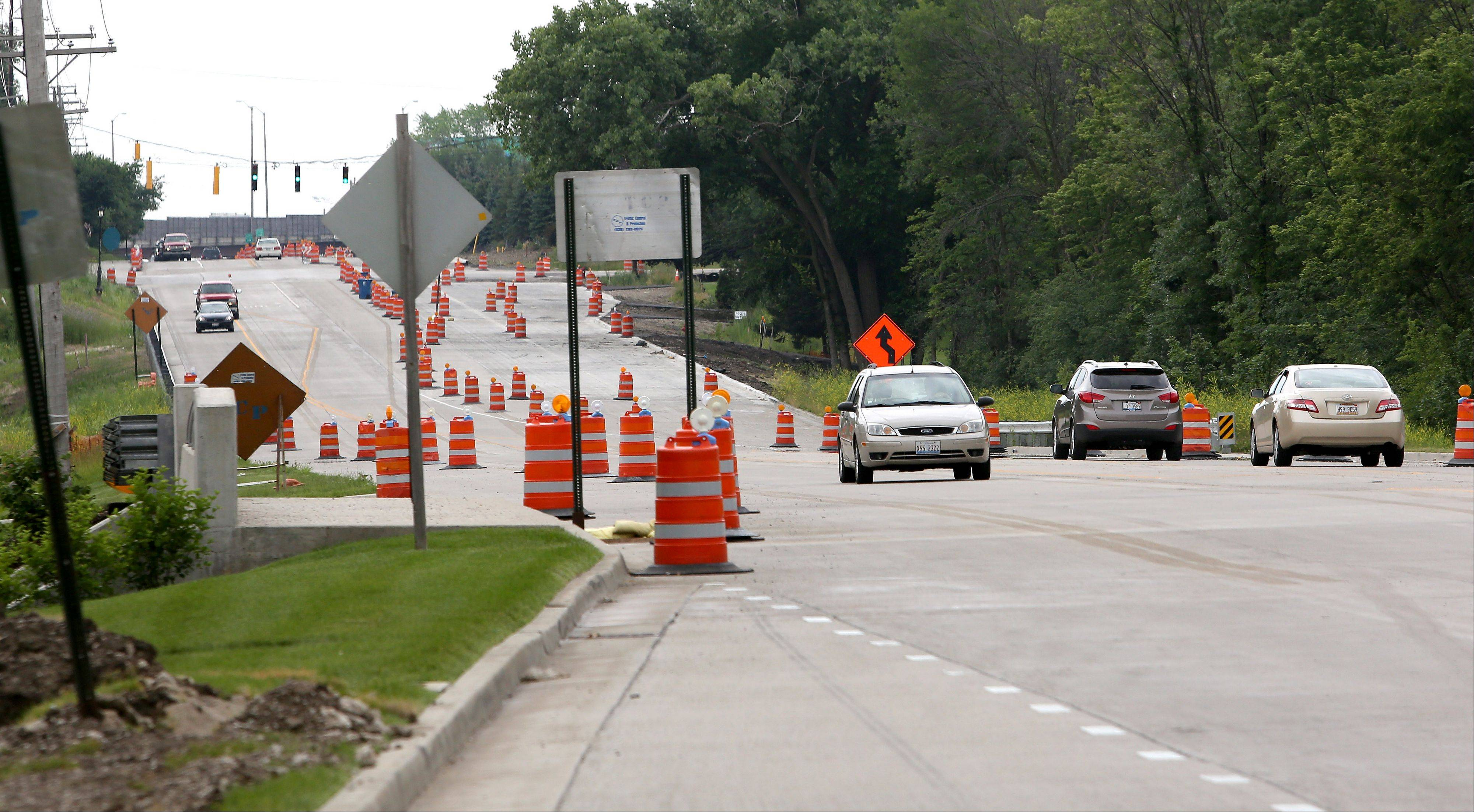 Construction continues on Route 53 between Army Trail and Thorndale Avenue, including on this stretch in Itasca.