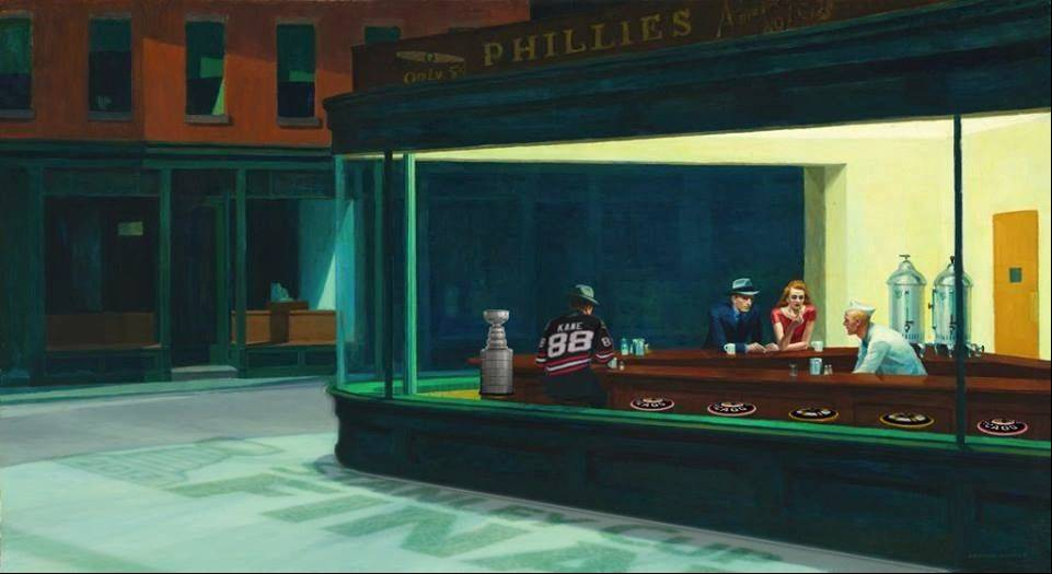 "Even the Art Institute of Chicago adds the Patrick Kane touch to make Edward Hopper's classic ""Nighthawks"" into ""Blackhawks"" for the Stanley Cup Finals."