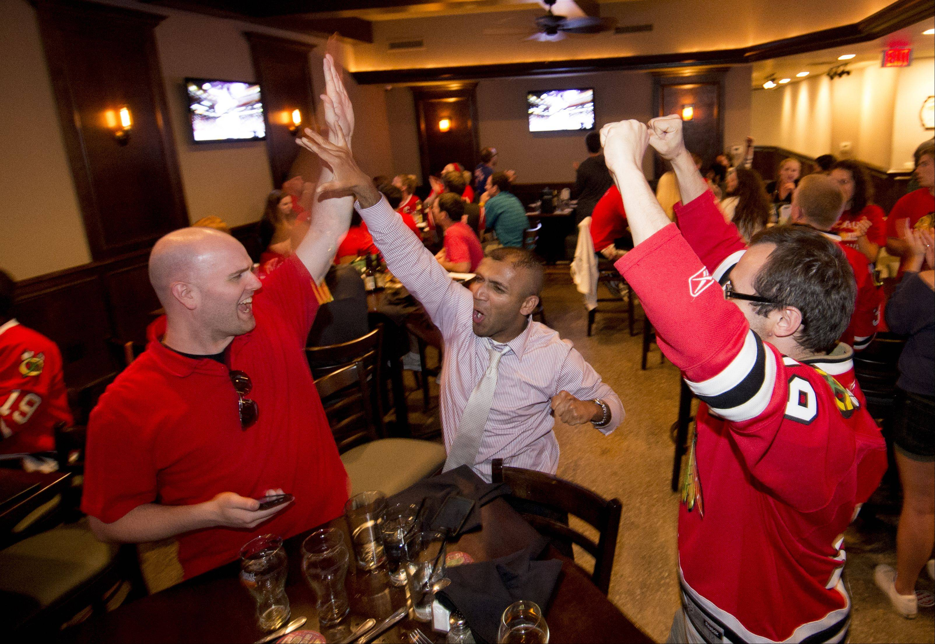 Jeff Smith of Wheaton, Raj Cherian of Aurora, and David Balsewicz of Winfield, celebrate the presentation of the Stanley Cup to the Chicago Blackhawks, while at Warren's Ale House in Wheaton Monday.