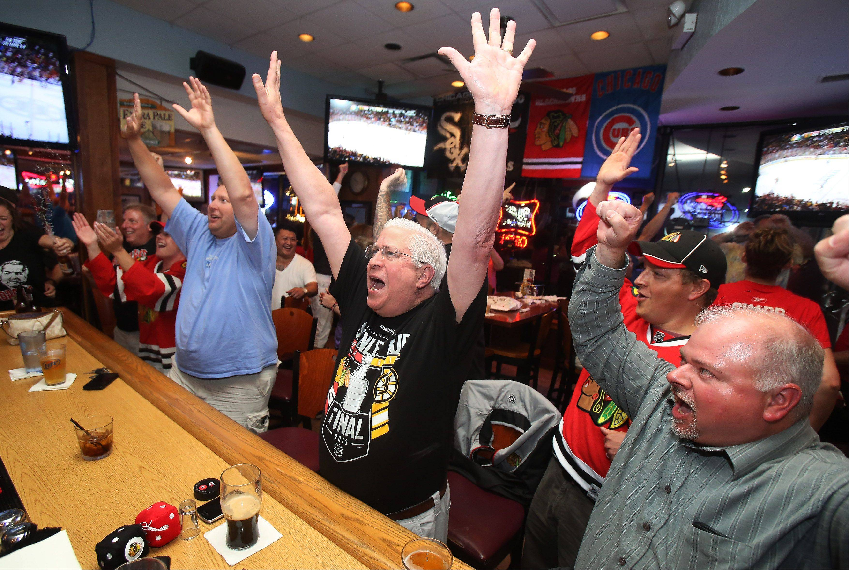 Fans cheer at Hitz Pizza and Sports Bar in Mundelein after the Chicago Blackhawks defeated the Boston Bruins to win the Stanley Cup Monday night.