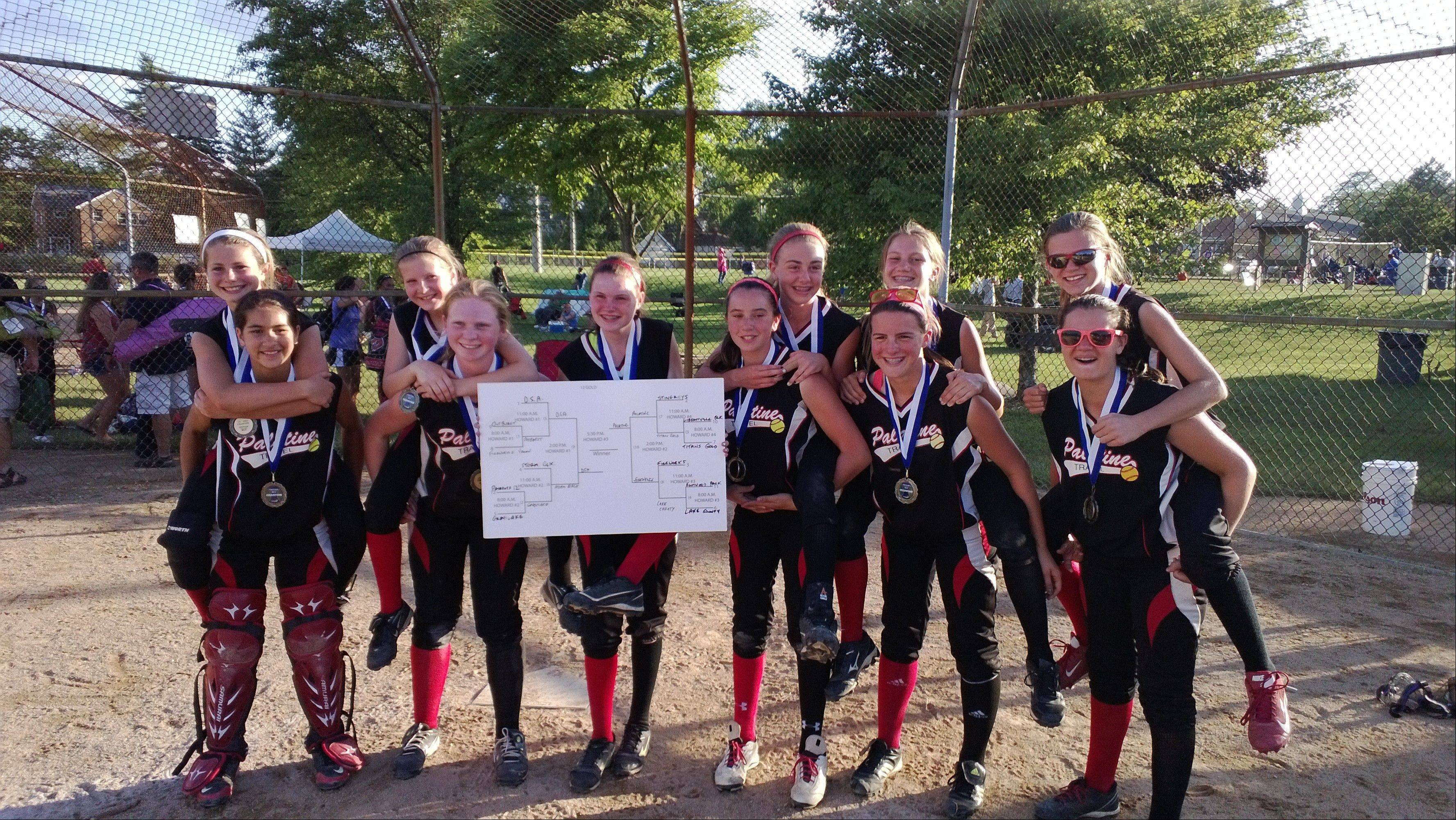 The Palatine Travelers U12 Girls Softball Team celebrate a win at the Wilmette Classic held Father's Day weekend.