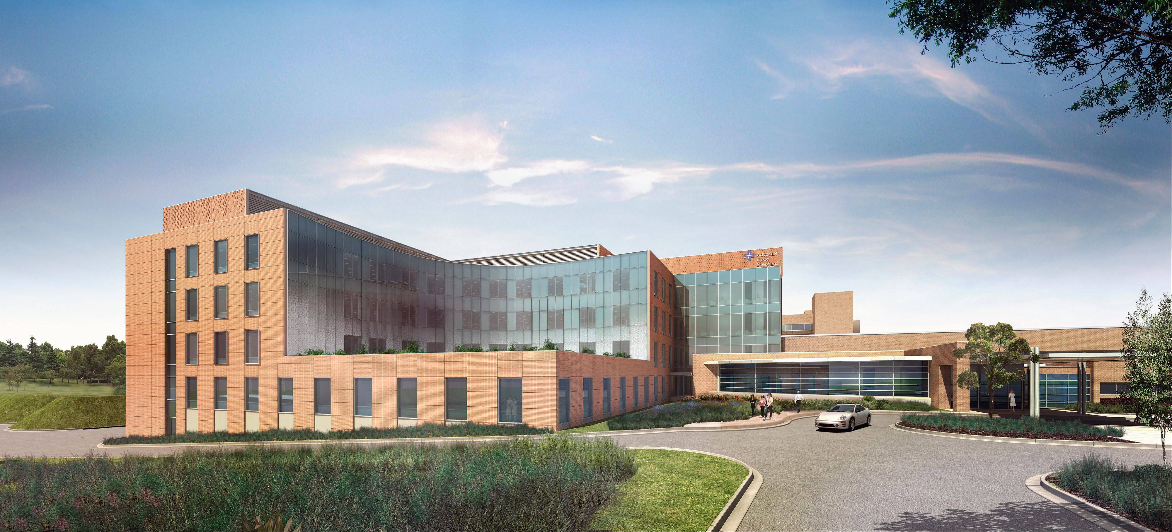 An artist's rendering of the north side of Advocate Good Shepherd Hospital after a proposed modernization.