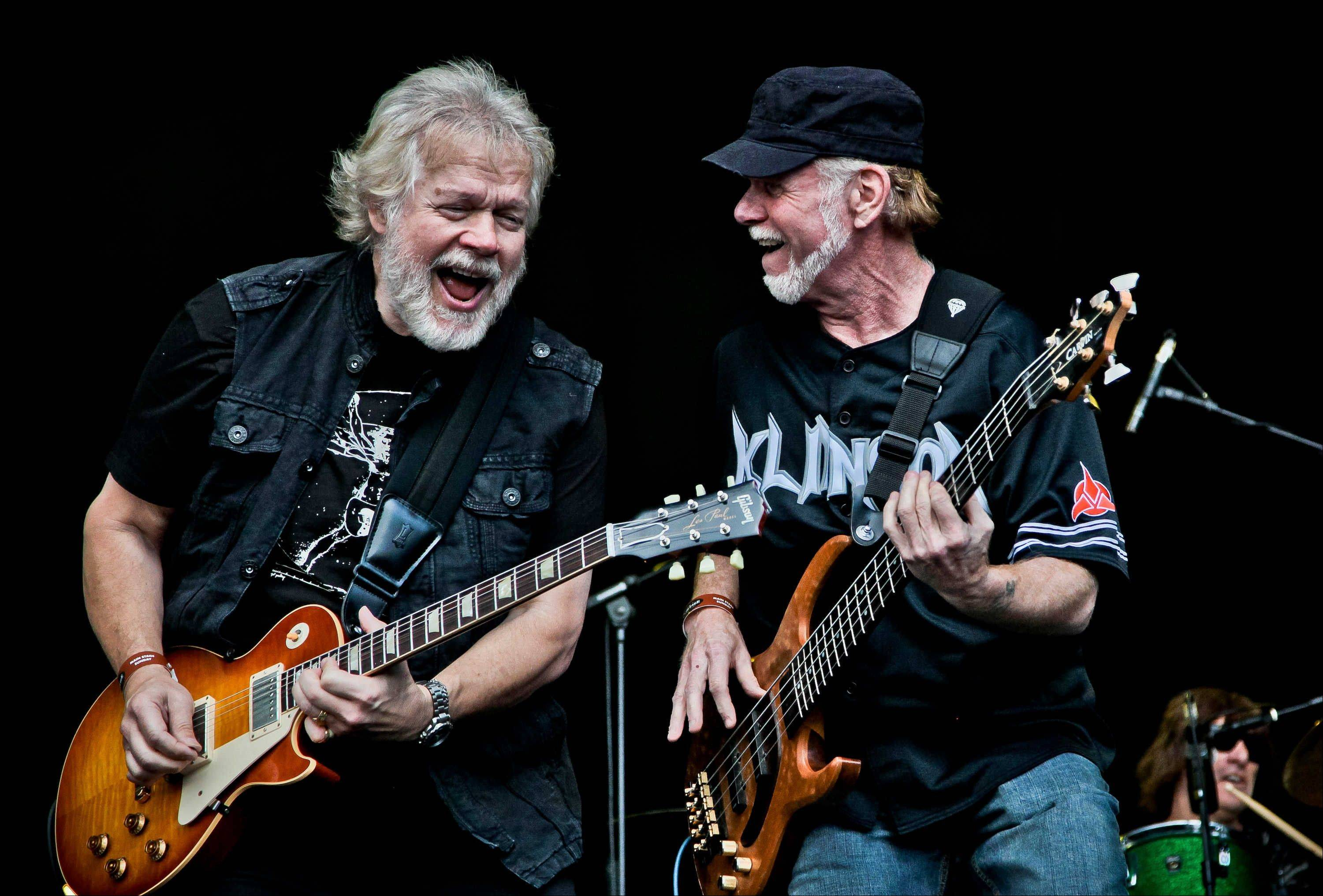 Randy Bachman, left, and Fred Turner of Bachman Turner Overdrive fame jam during a performance. The duo will reunite at the Arcada Theatre in St. Charles for an 8 p.m. Friday show.