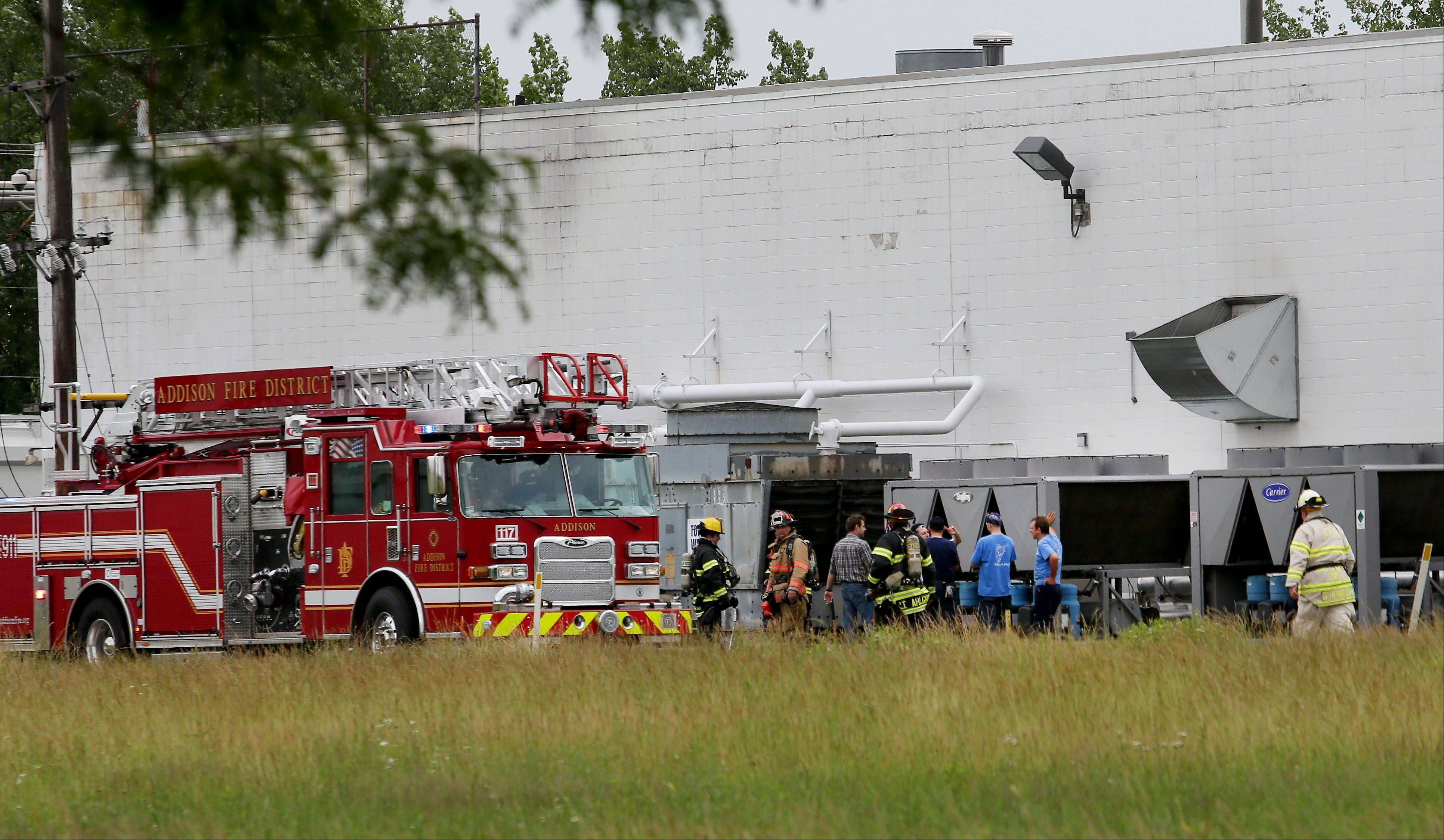 A forklift crashed into an electrical panel Wednesday at Mauser Corp. causing smoke that brought Addison firefighters to the scene. No injuries were reported.