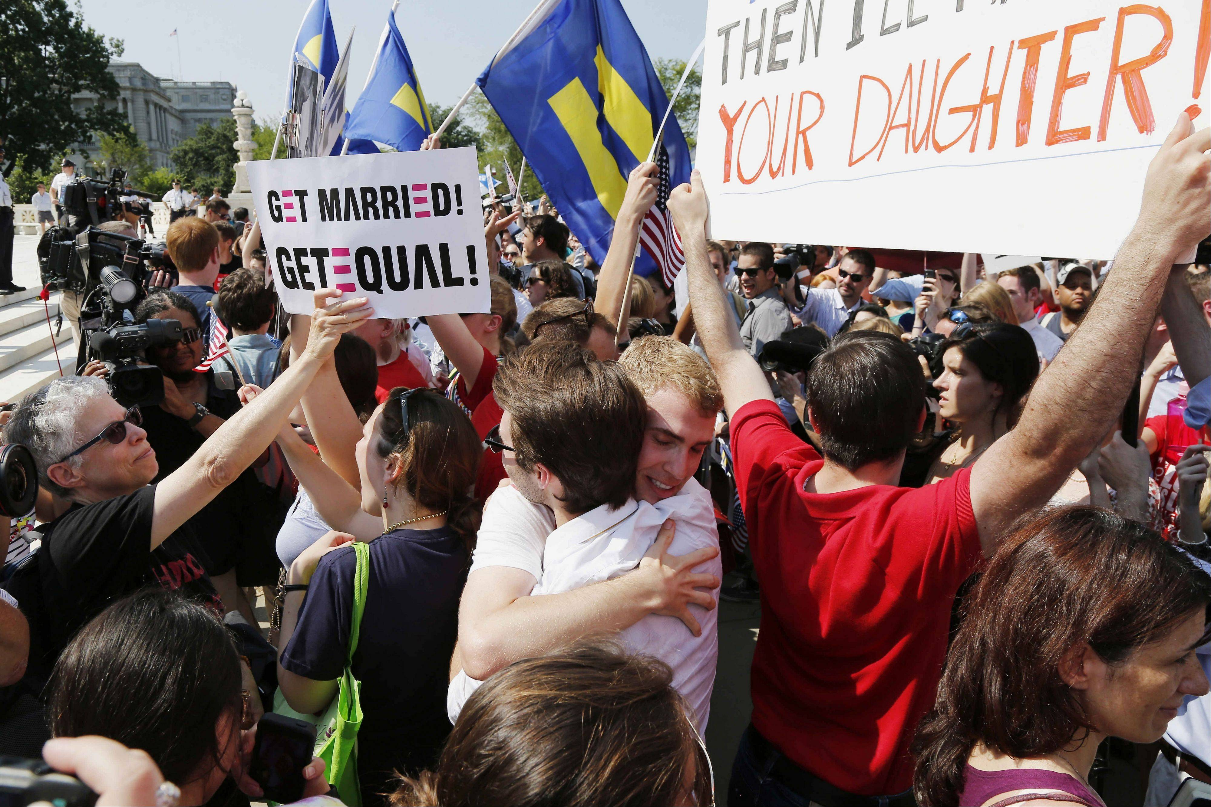 Gay rights supporters erupt in cheers over ruling