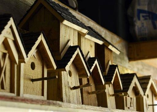 A row of birdhouses on a shelf are seen in Matthew Martin's workshop in Washington