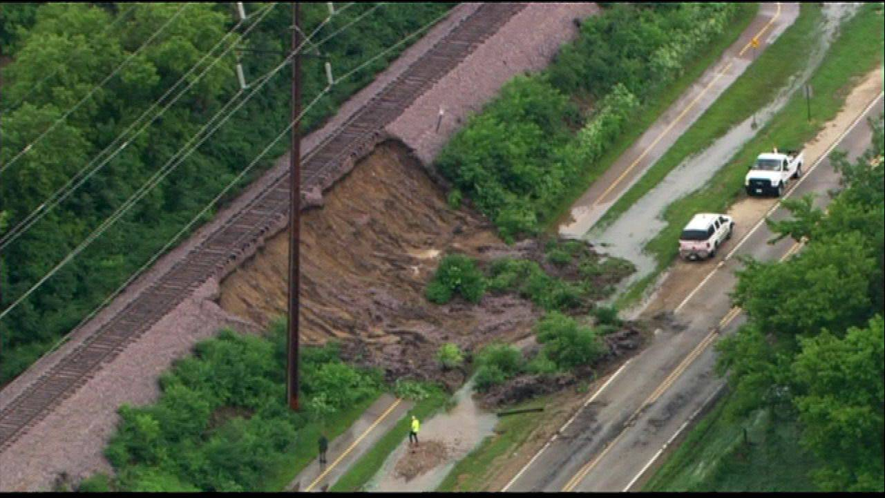 A section of track along Bay Road between Crystal Lake and McHenry was washed out by the heavy rains Wednesday.