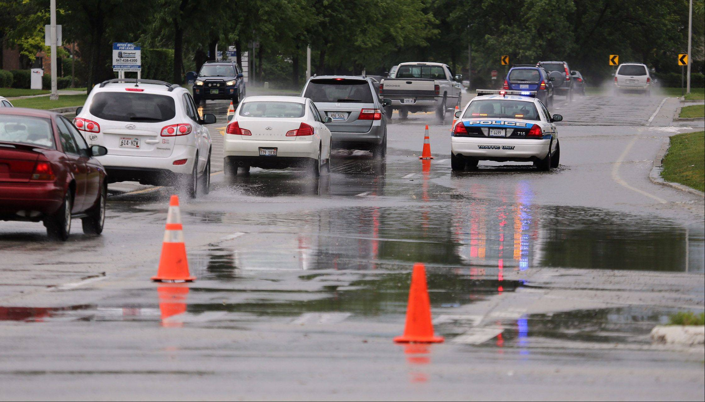 Flooding along Arlington Heights Road and Dundee Road in Buffalo Grove caused major traffic problems on Wednesday.