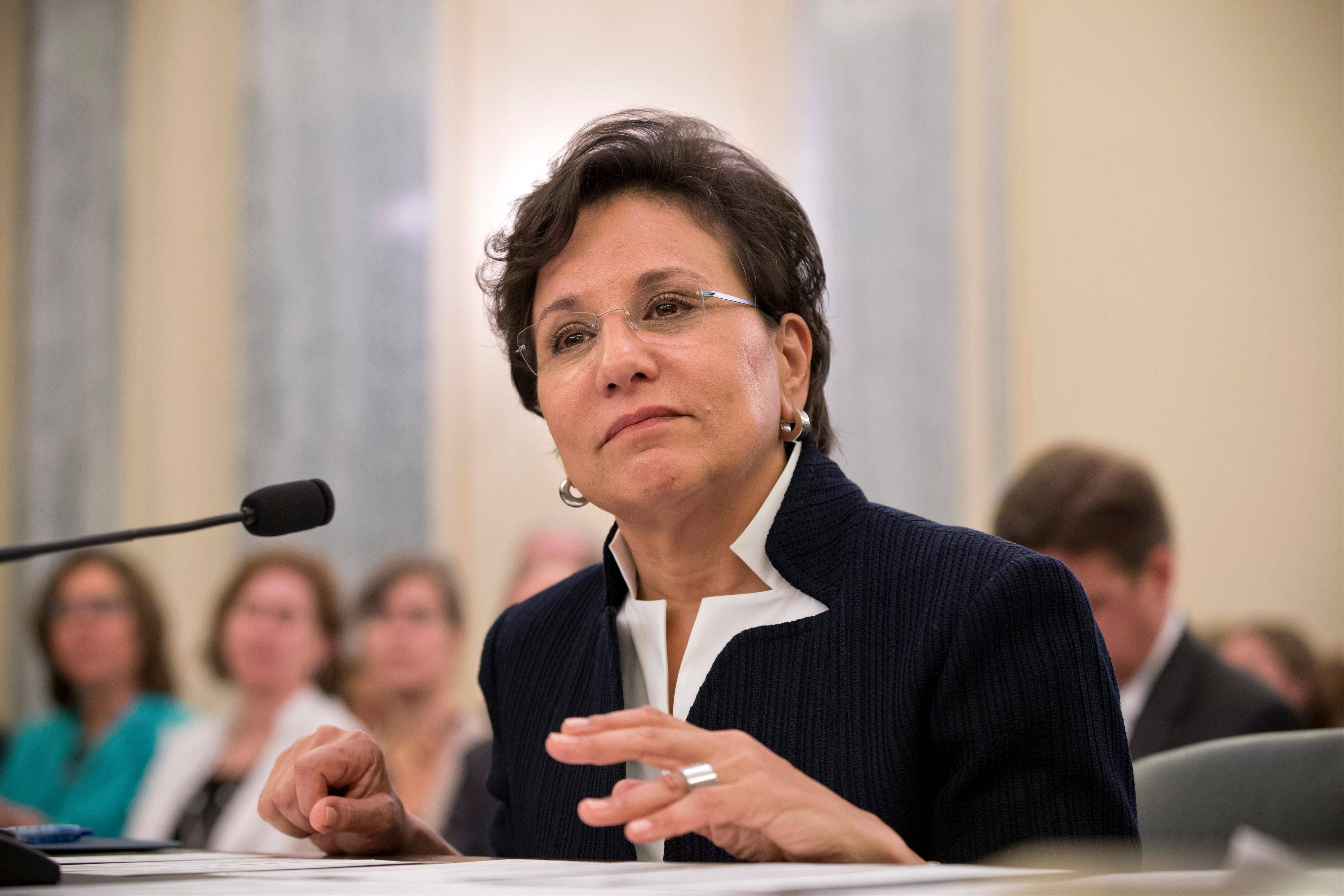 Chicago billionaire business executive Penny Pritzker, President Obama's pick for Commerce Secretary, testifies on Capitol Hill in Washington.