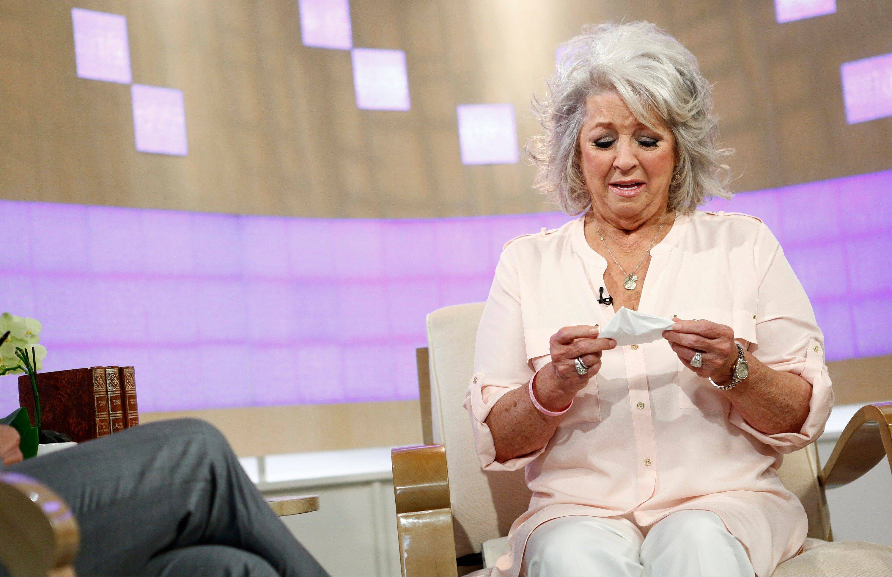 In this publicity image released by NBC, celebrity chef Paula Deen appears on NBC News� �Today� show, Wednesday. Deen dissolved into tears during the interview Wednesday about her admission that she used a racial slur in the past.