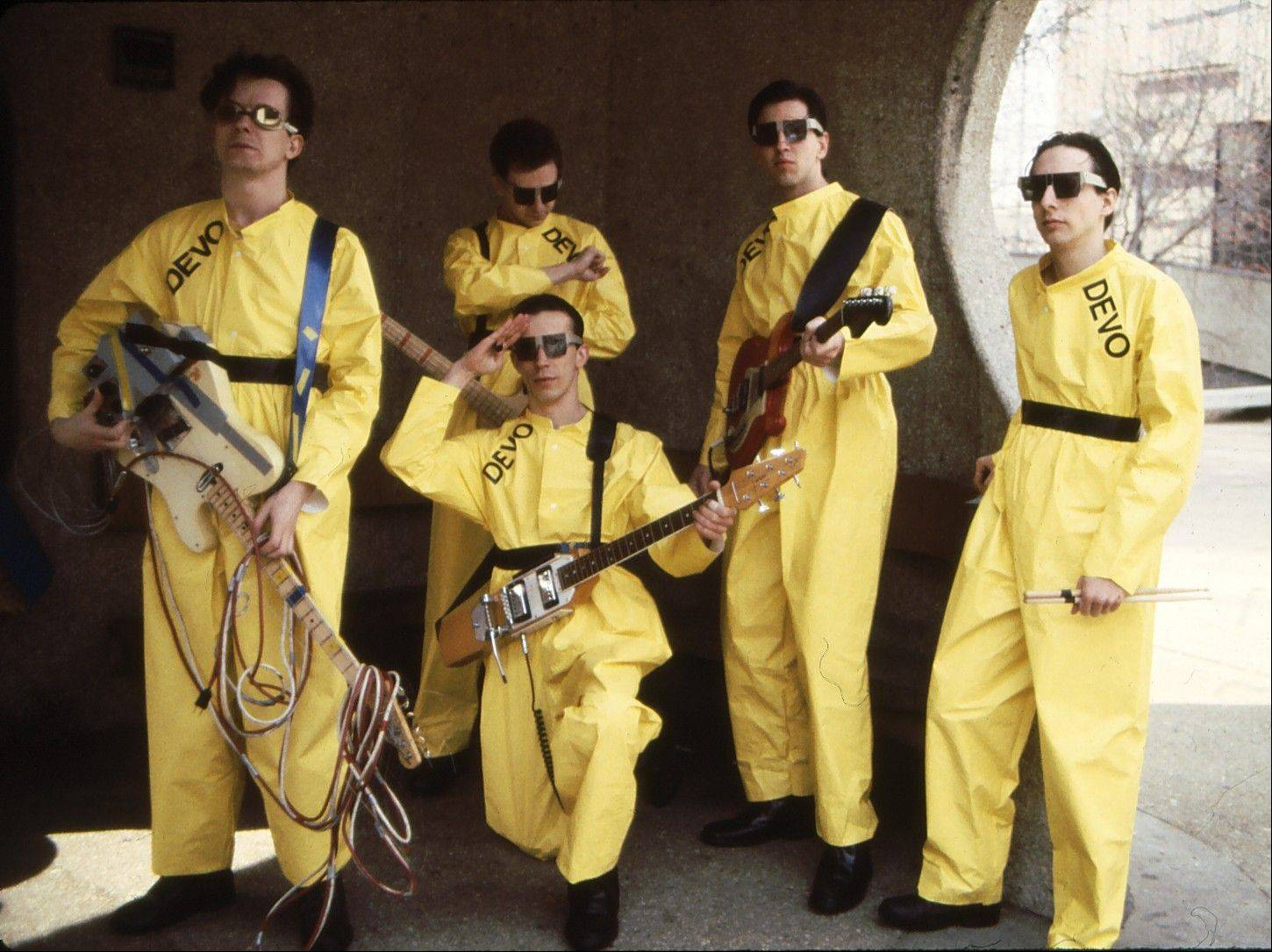 The band Devo (in 1978) — Mark Mothersbaugh, left, Bob Mothersbaugh, kneeling, Jerry Casale, Bob Casale and Alan Myers. Drummer Alan Myers died Monday after a battle with brain cancer. He was 58.