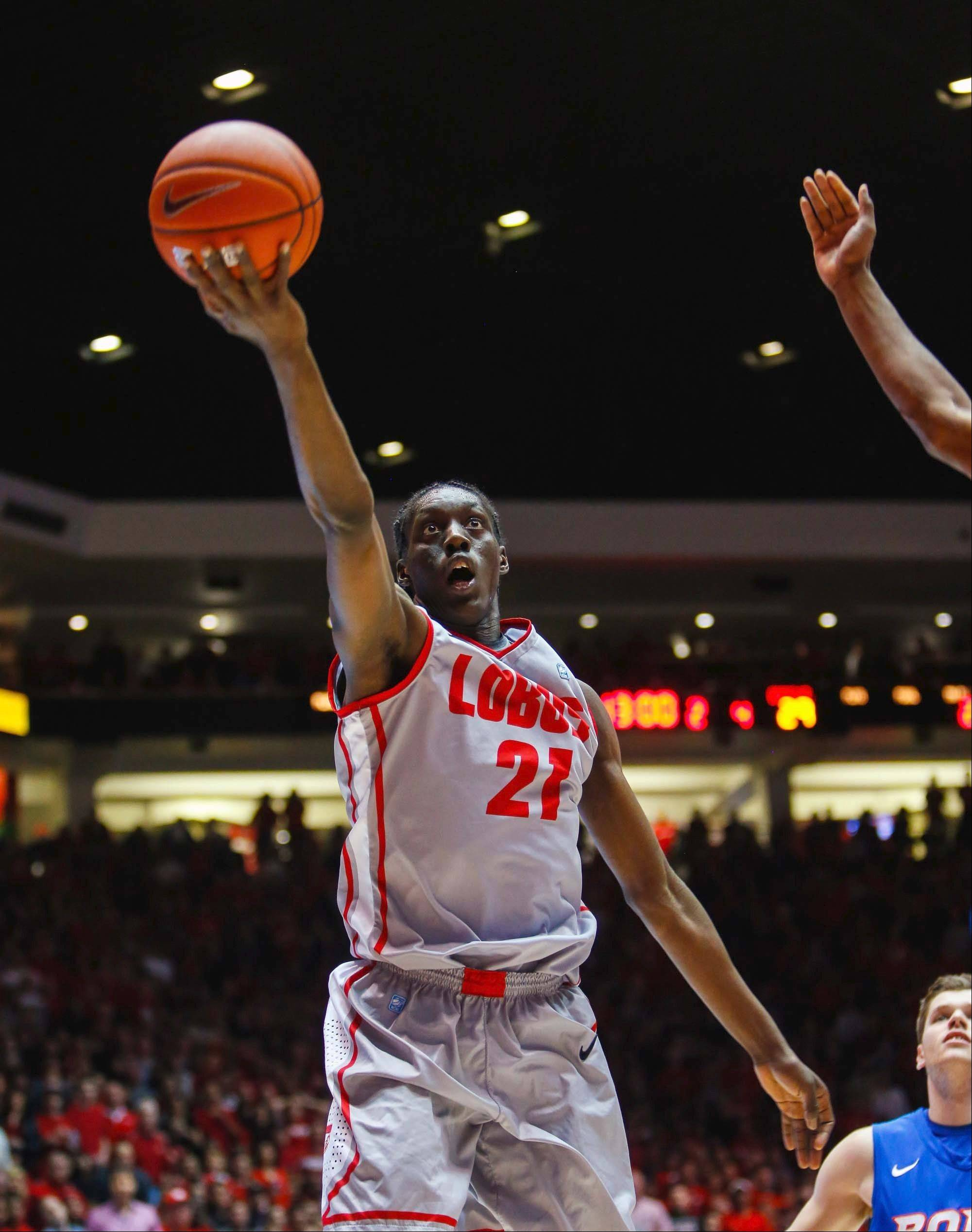 New Mexico's Tony Snell goes for a layup against Boise State in the second half of an NCAA college basketball game Saturday, Feb. 16, 2013, at the Pit in Albuquerque, N.M. New Mexico won 60-50. (AP Photo/Jake Schoellkopf)