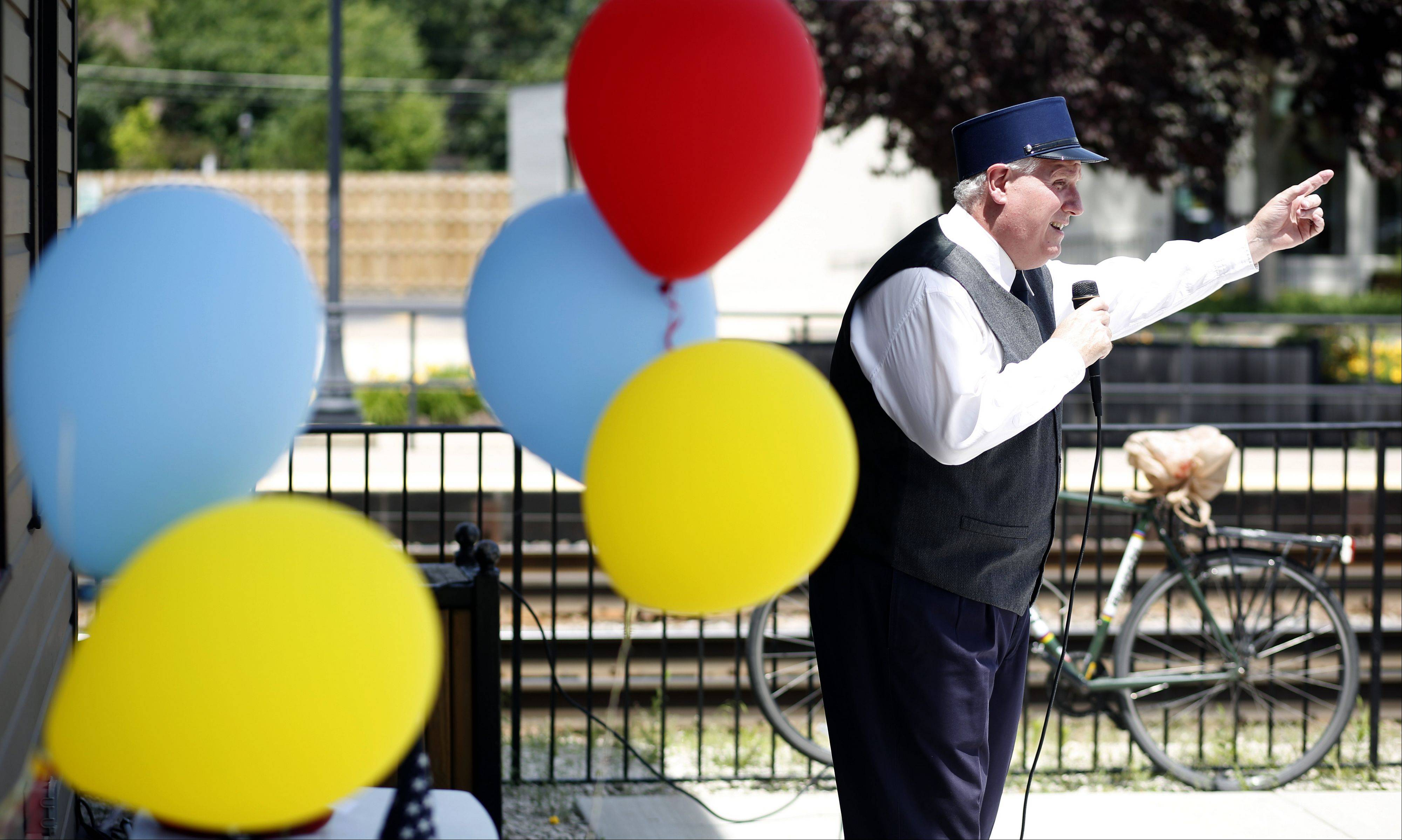Terry Lynch of Orland Park portrays long time Bartlett Depot employee Joe Charneskey during the building's 140th Birthday Bash Thursday. In 1873, Luther and Sophia Bartlett donated land to the Chicago & Pacific Railroad for a rail line from Chicago to Elgin. The depot was built in June of that year.