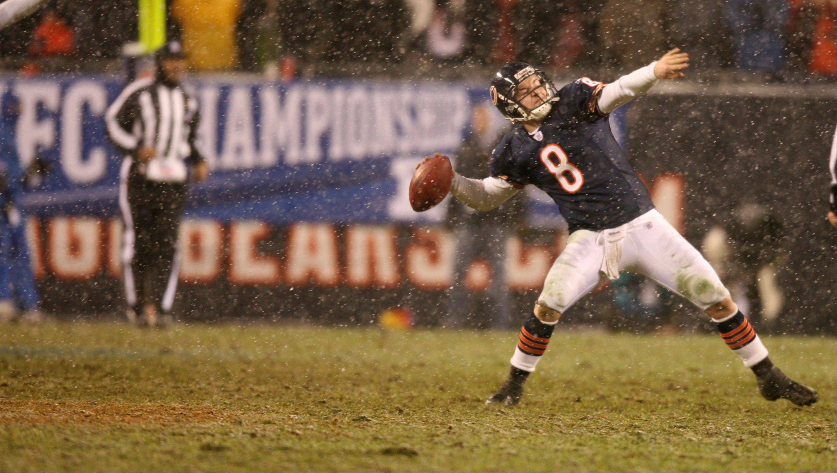 "In 2006, when Katrina-ravaged New Orleans ""needed"" the Saints to make the Super Bowl, the Chicago Bears crushed those dreams. Bears quarterback Rex Grossman heaves the ball into the stands on the final play to celebrate a 39-14 win."