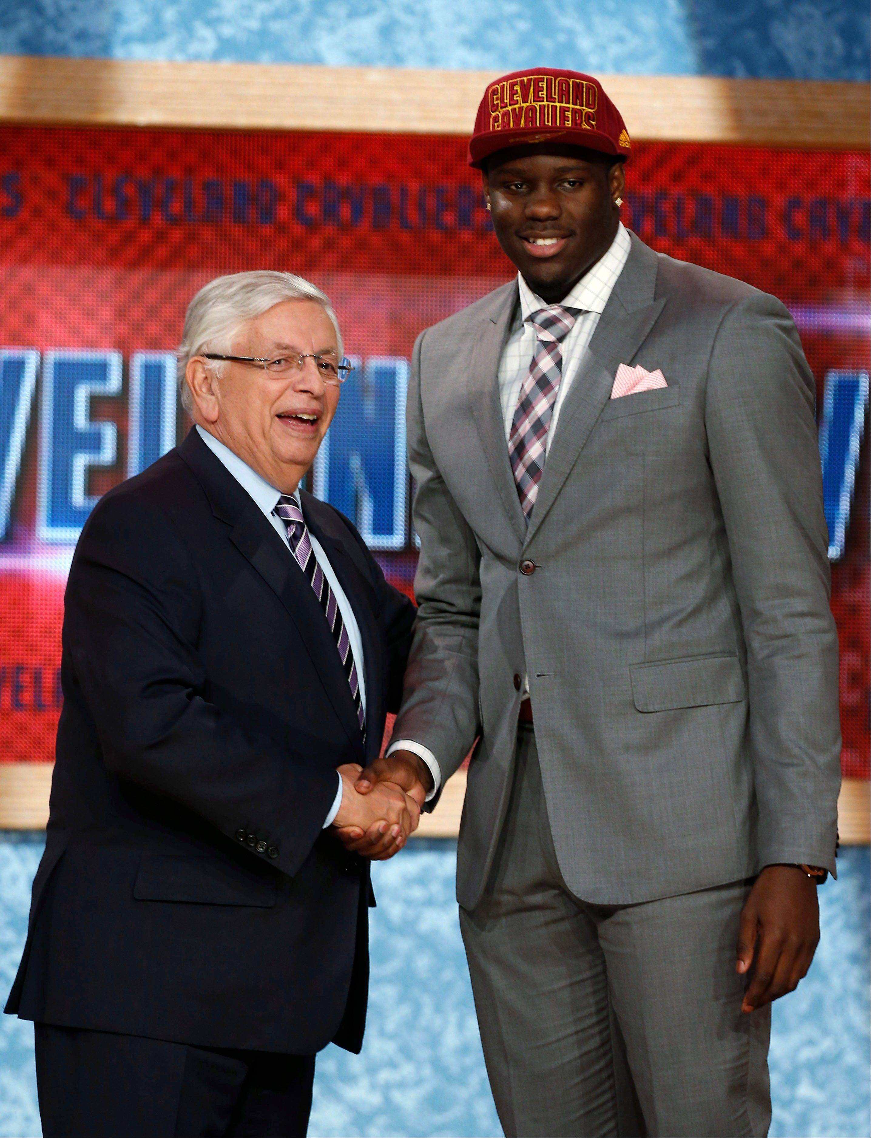 NBA Commissioner David Stern shakes hands with UNLV's Anthony Bennett, who was selected first overall by the Cleveland Cavaliers in the NBA draft Thursday in New York.