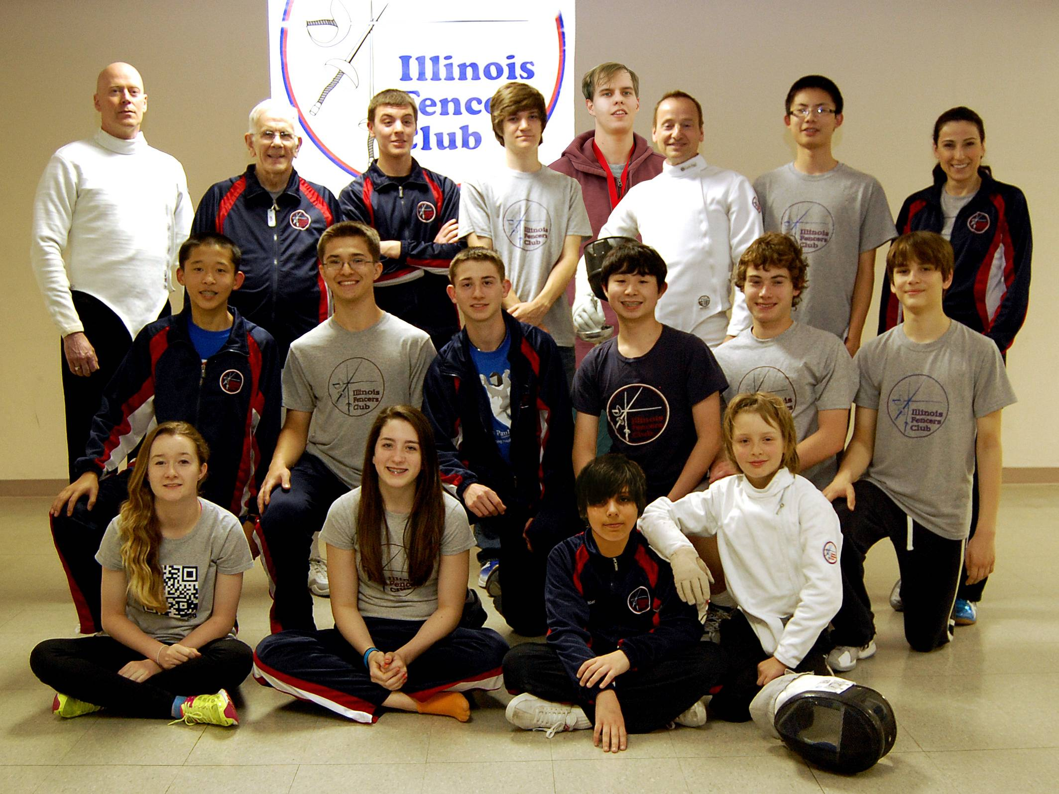 Illinois Fencers Club Summer Nationals Team with coach Ina Harizanova (top right)